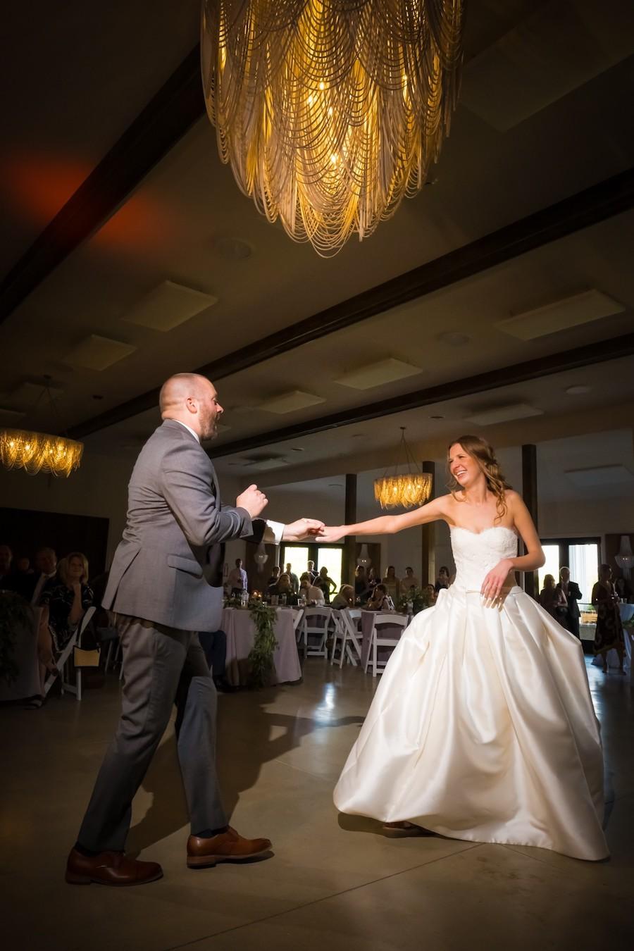 The Oakley Wedding Venue first dance dark lighting