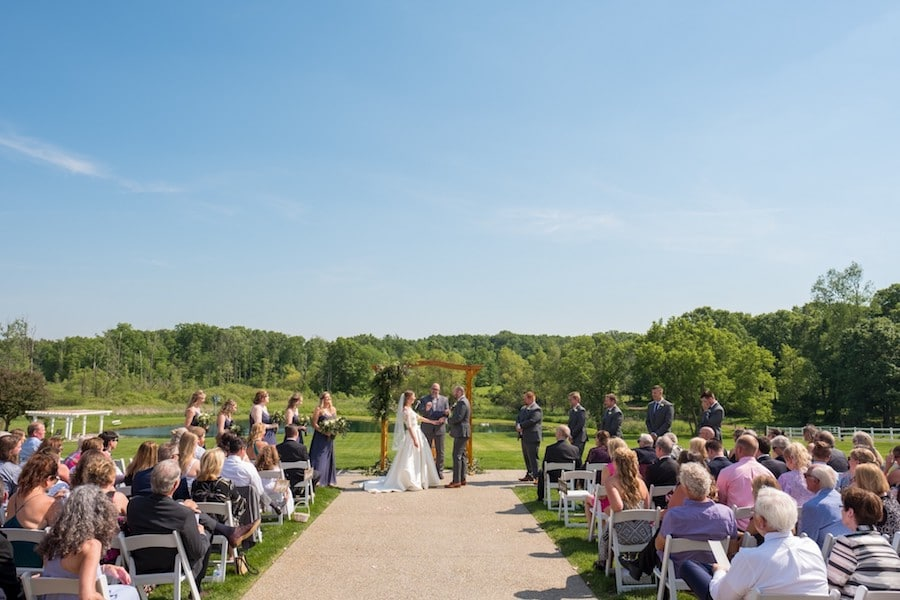 The Oakley Wedding Venue outdoor ceremony with guests