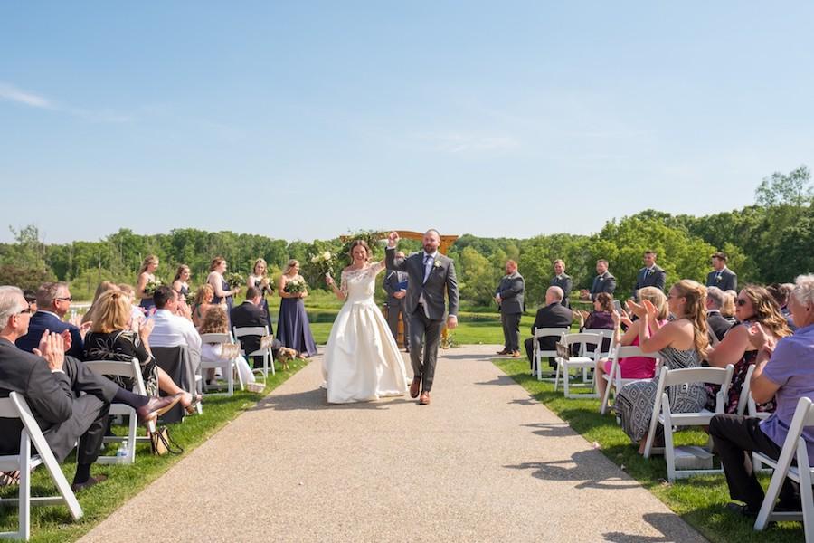 The Oakley Wedding Venue recessional outdoor ceremony