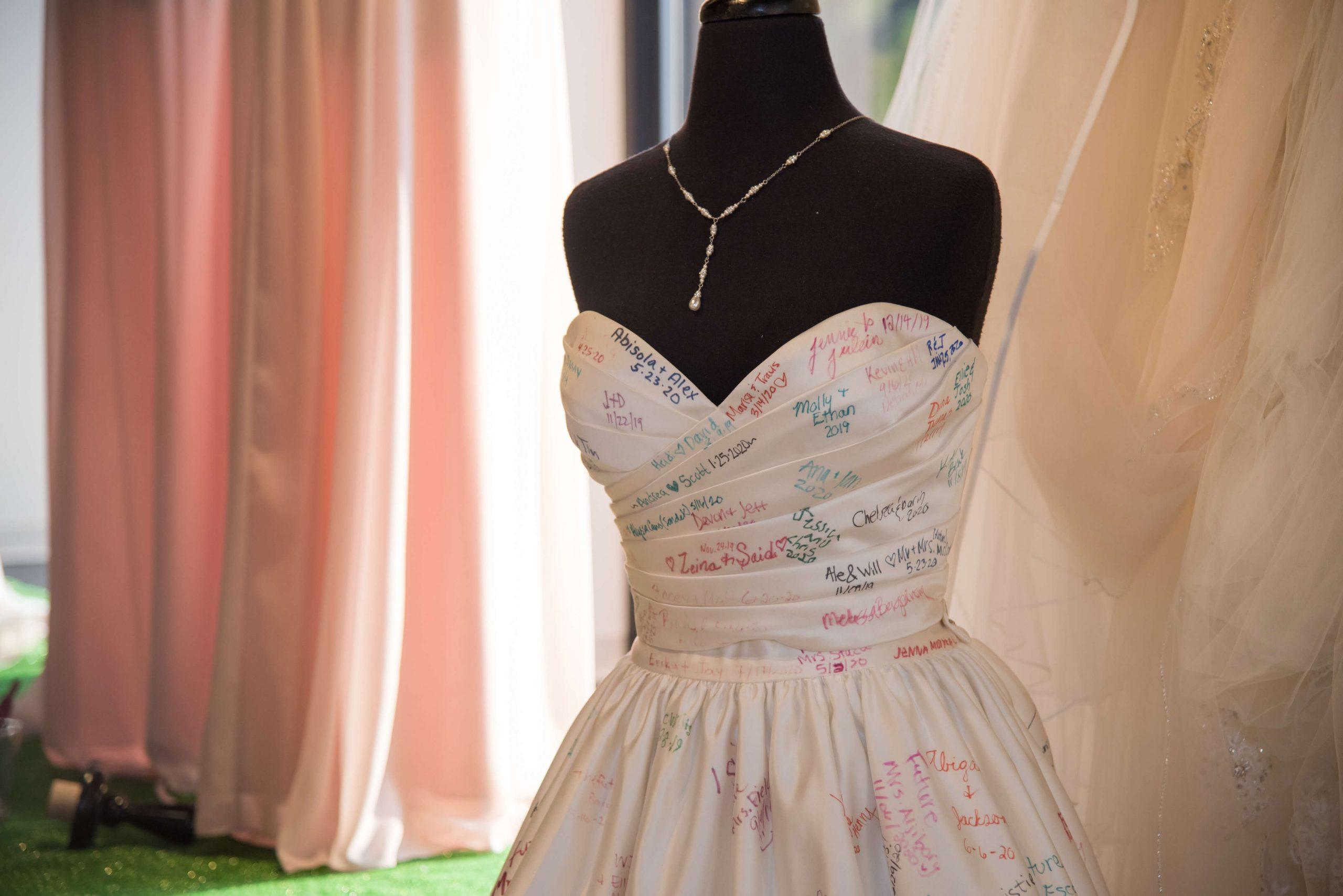 Wedding Shoppe dress with brides names