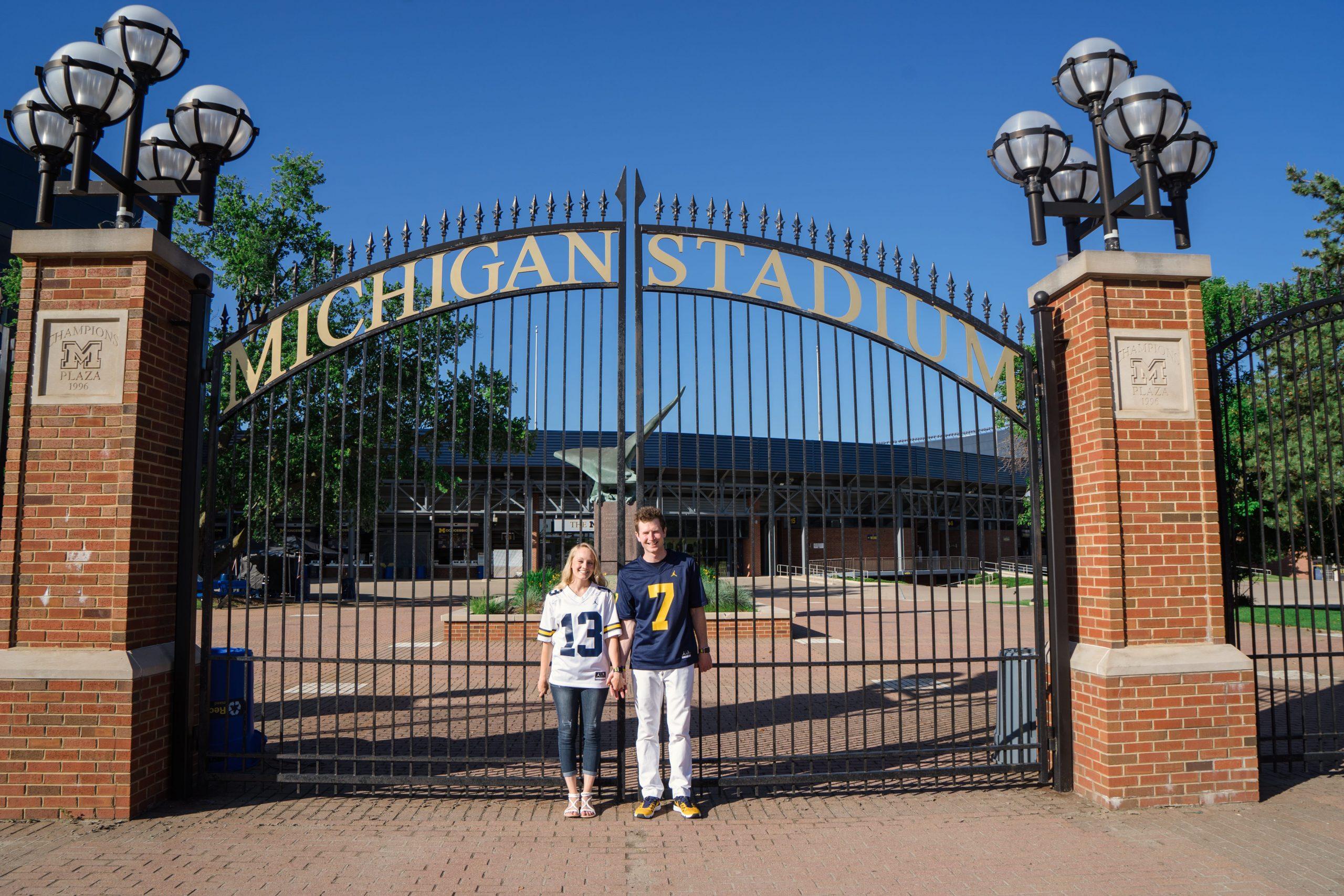 engagement photo Michigan stadium