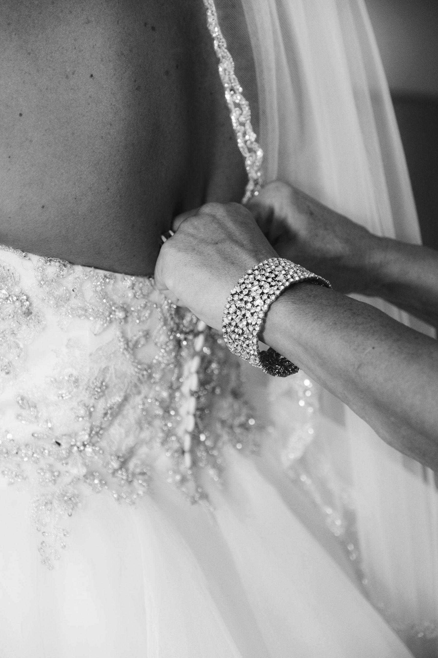 bustling bride's dress pre-ceremony