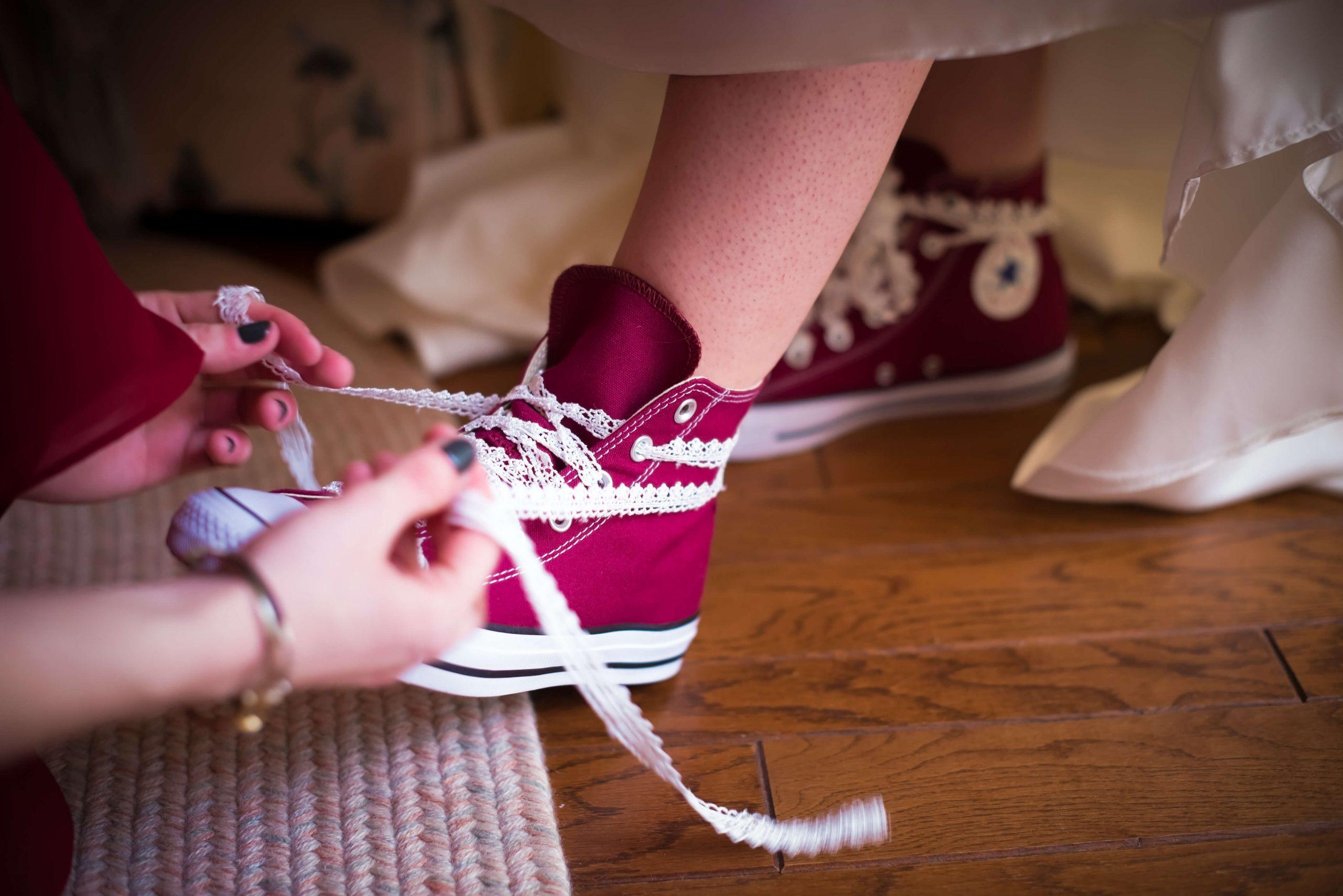 bride lacing converse sneakers