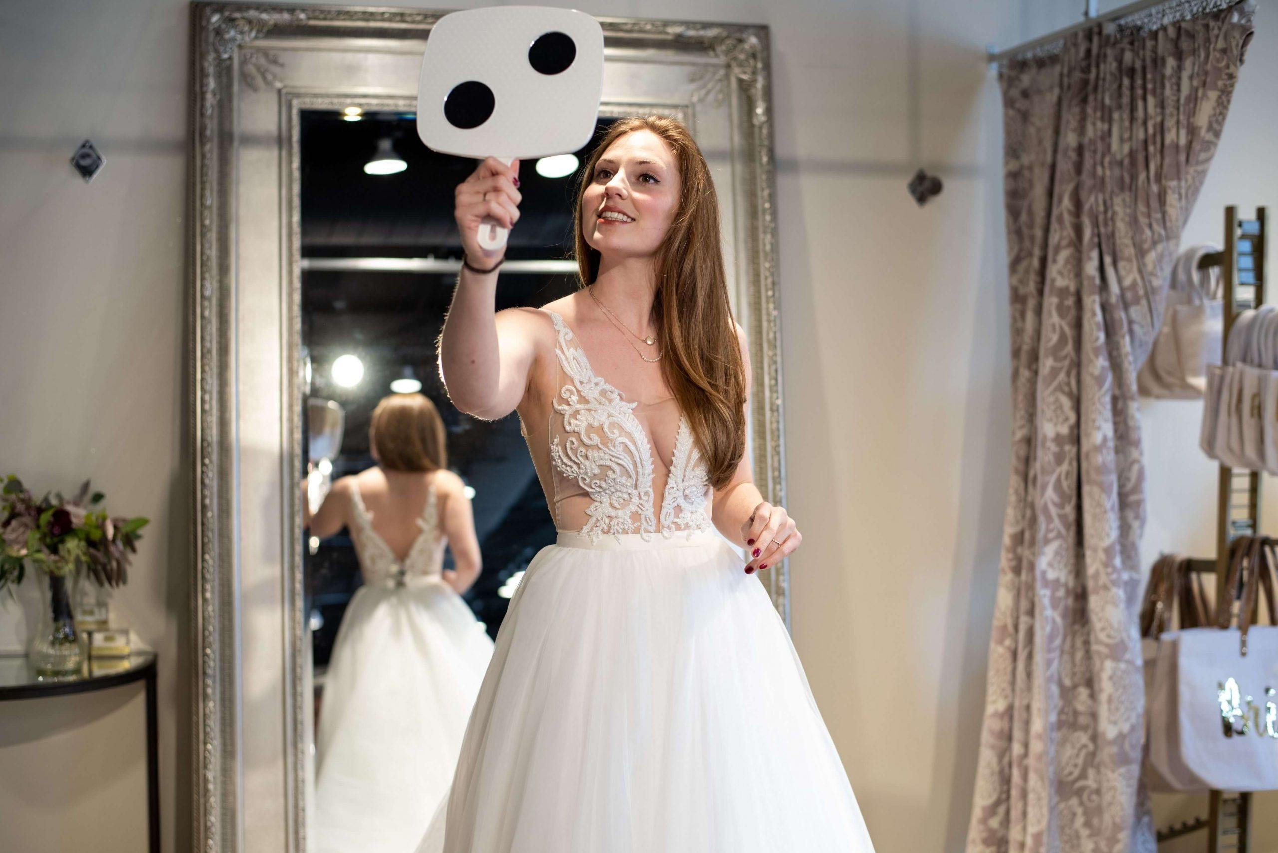 bride at wedding shoppe