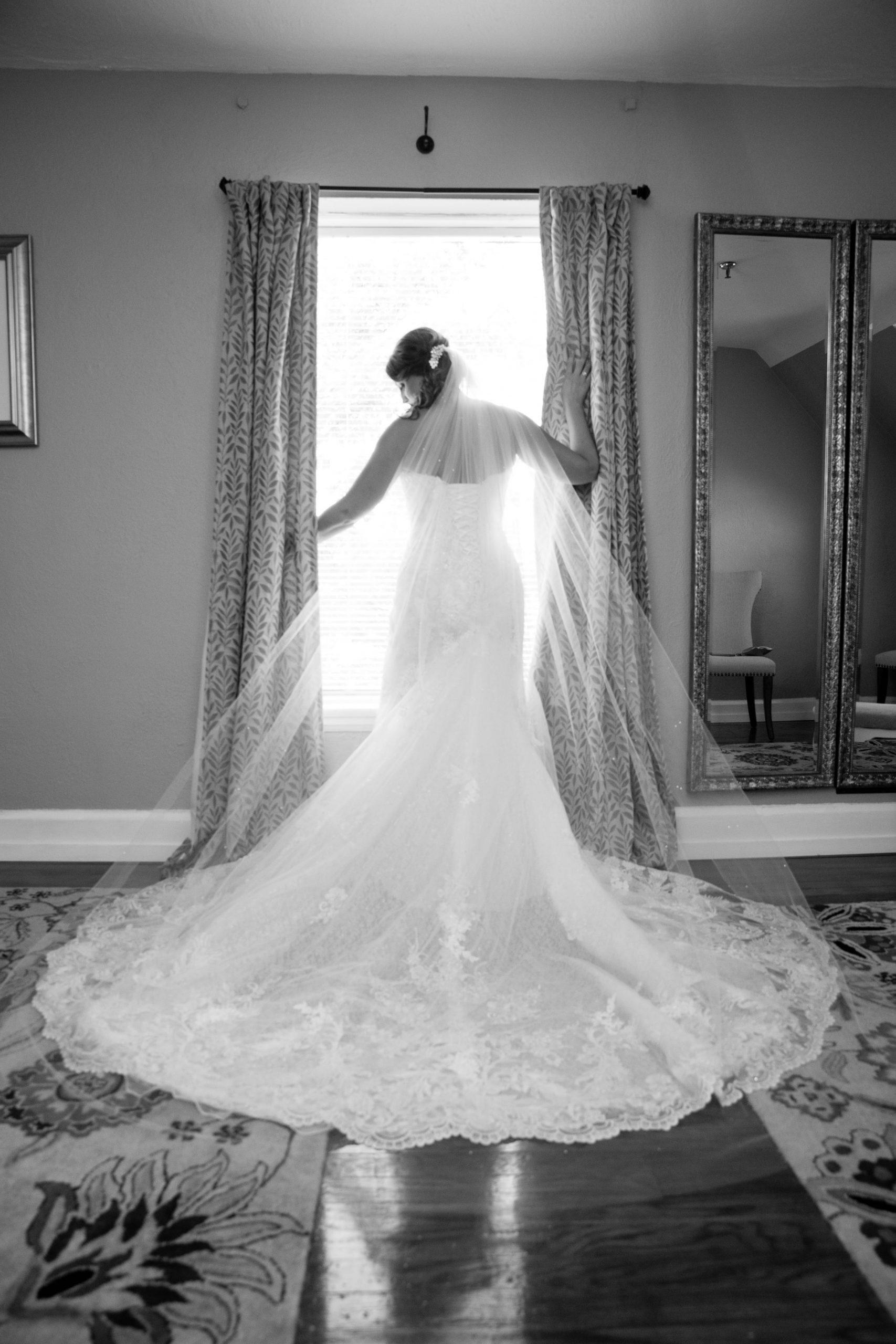 bride portrait showing dress details pre-ceremony