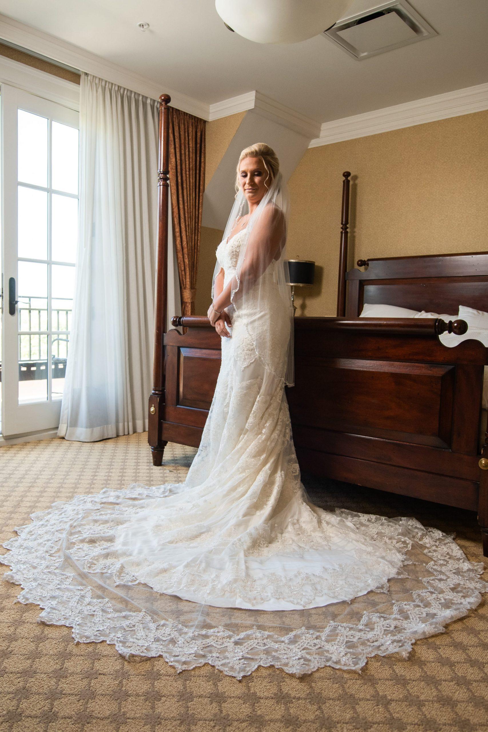 bride pre-ceremony showing dress details