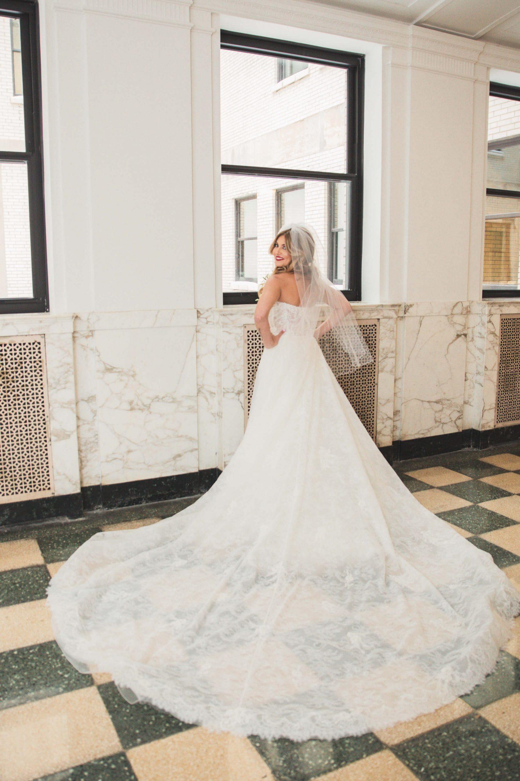 brides gown details