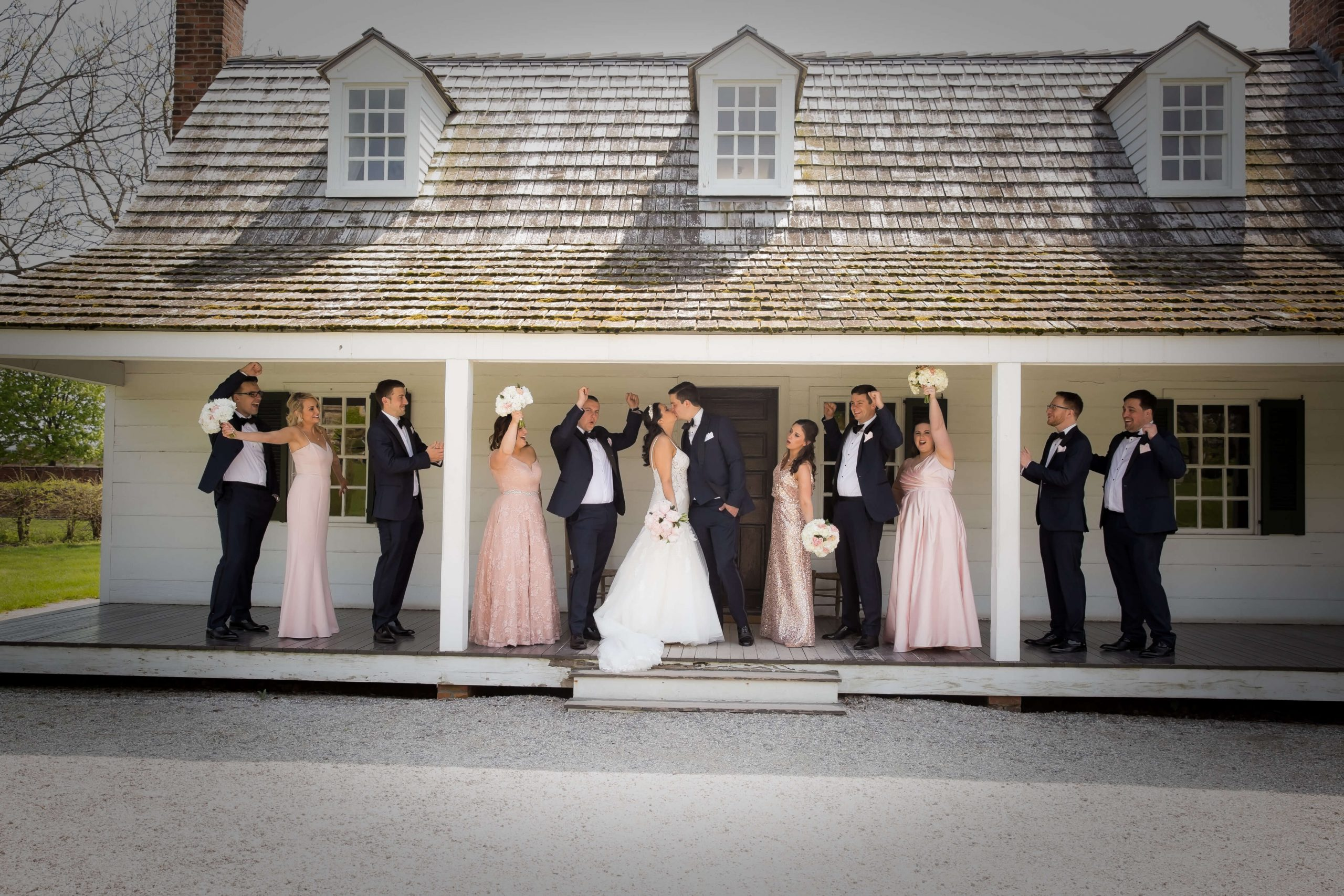 bridal party and bride and groom at greenfield village
