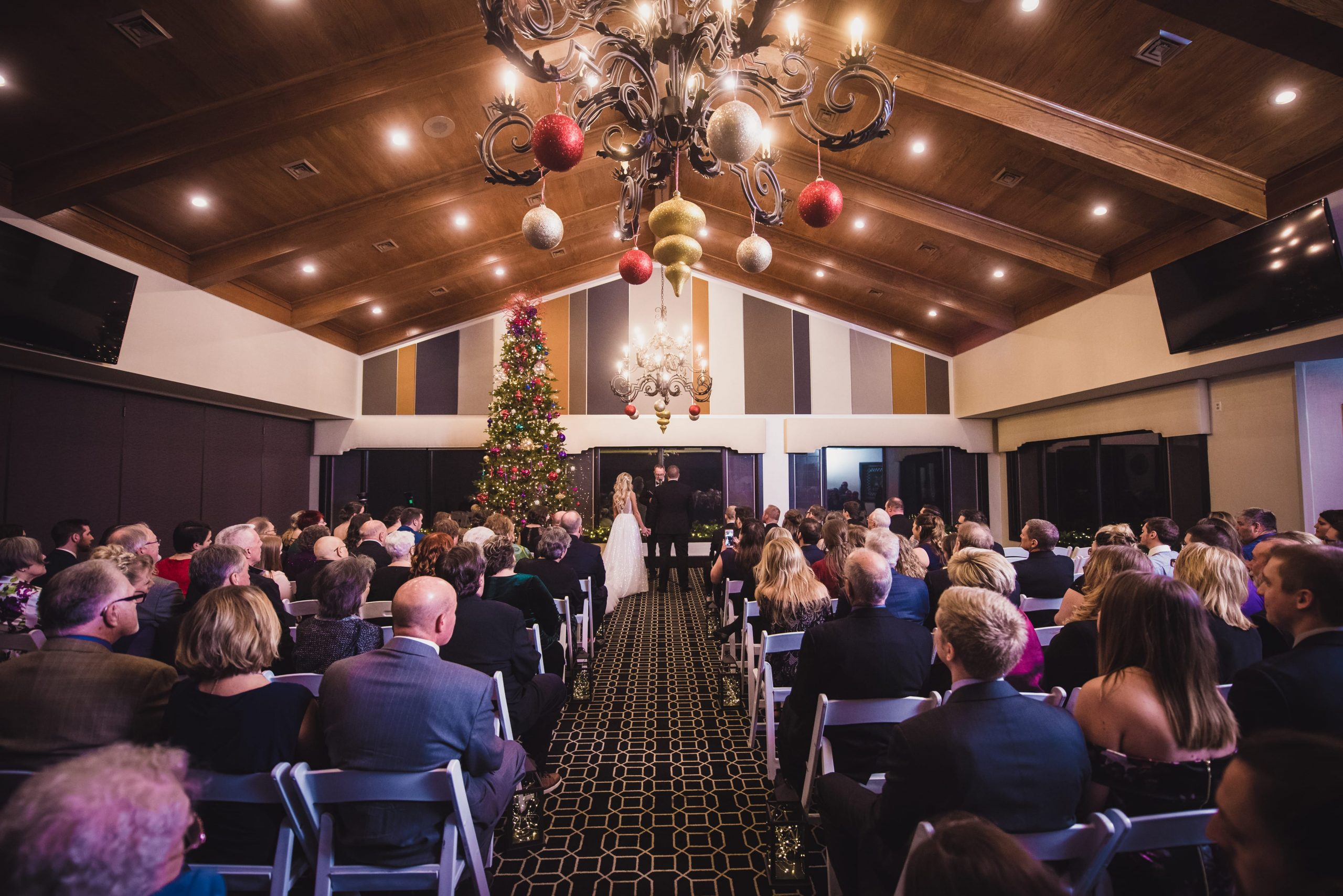 wedding ceremony at Christmas time