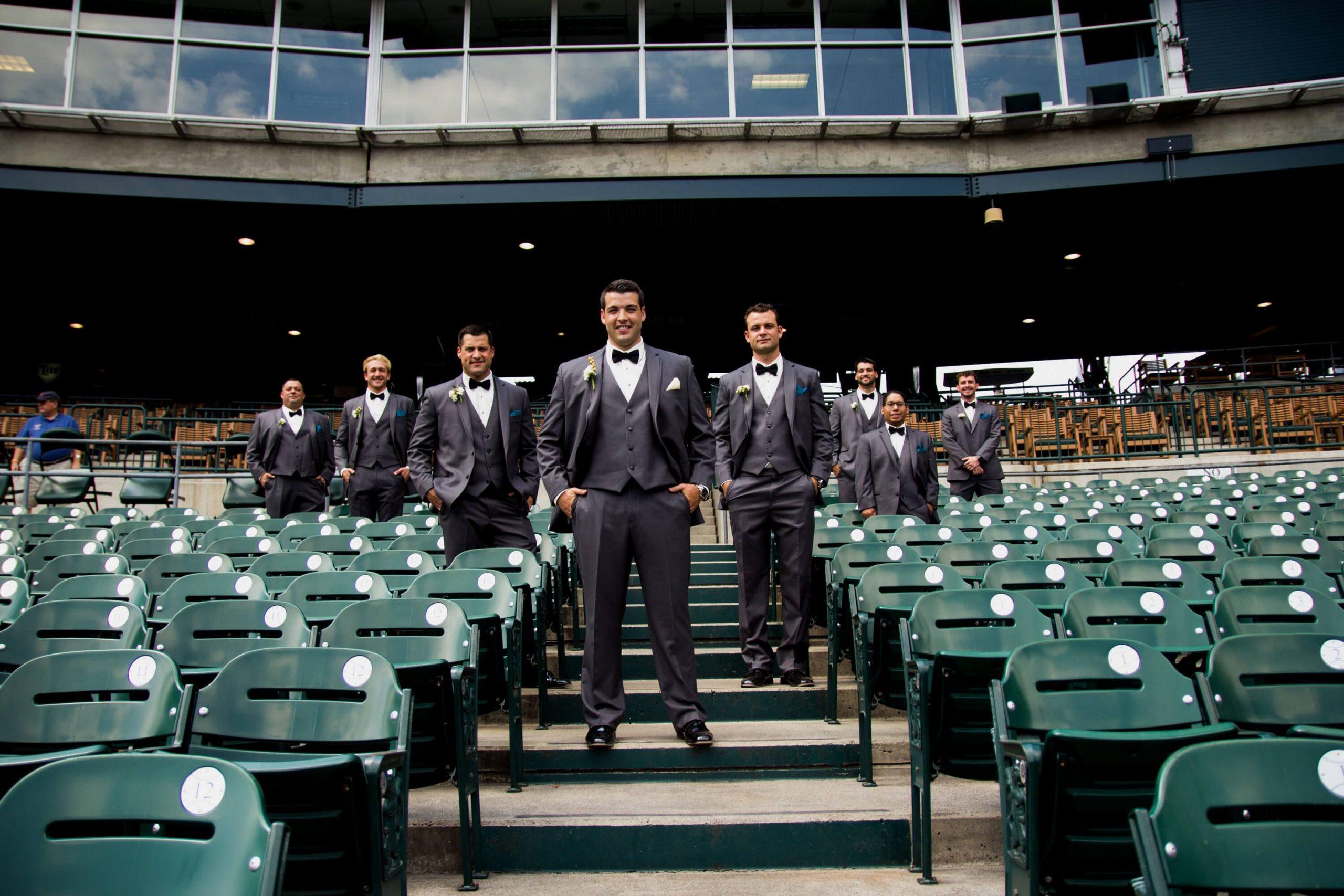groomsmen inside comerica park detroit tigers