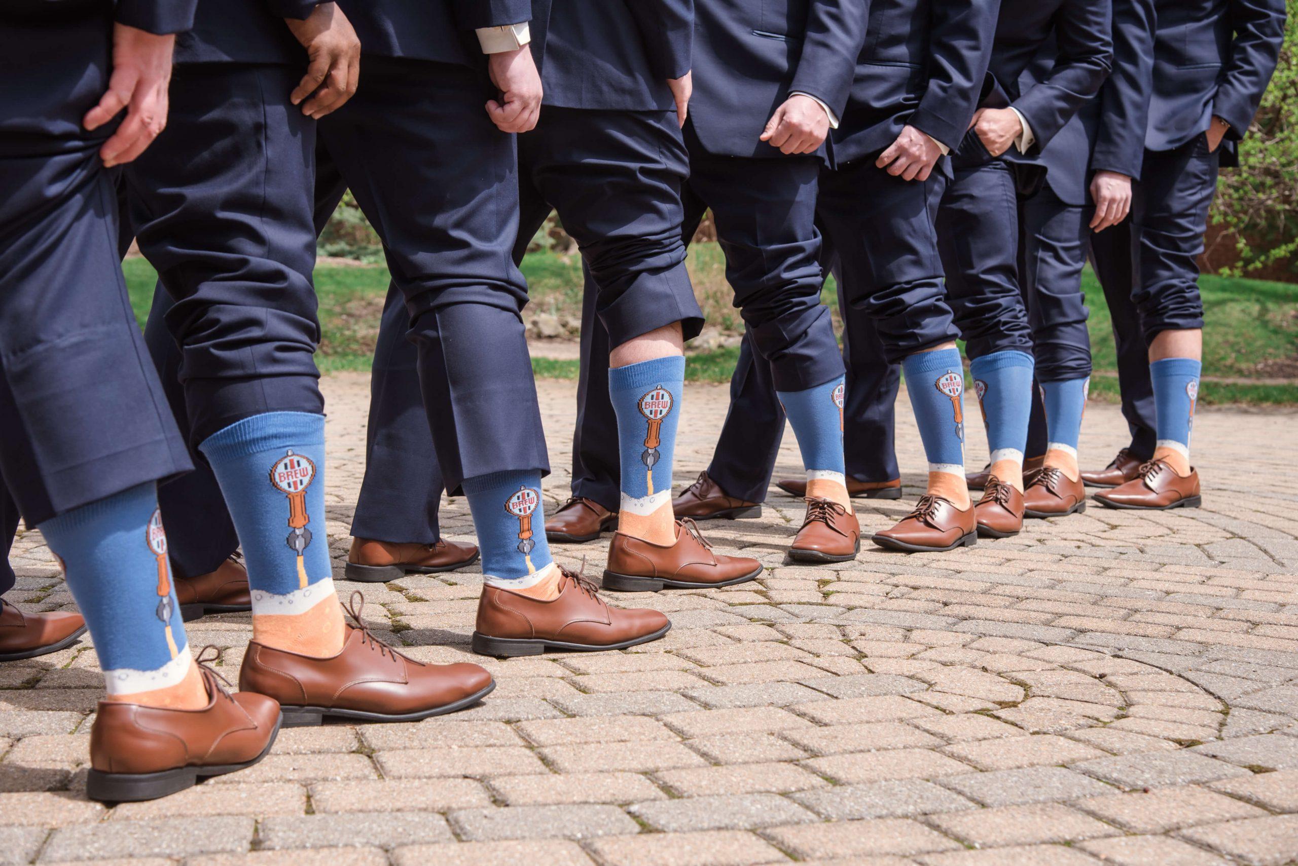 groomsmen wearing matching socks