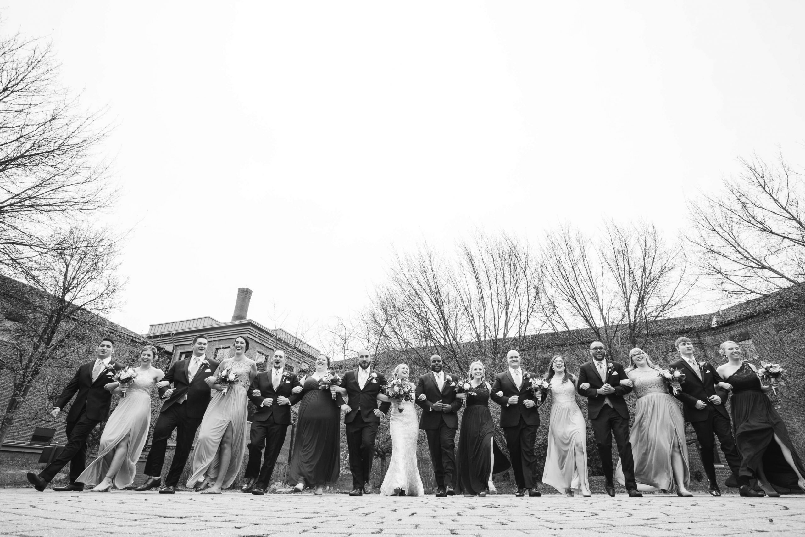 black and white portrait of bridal party
