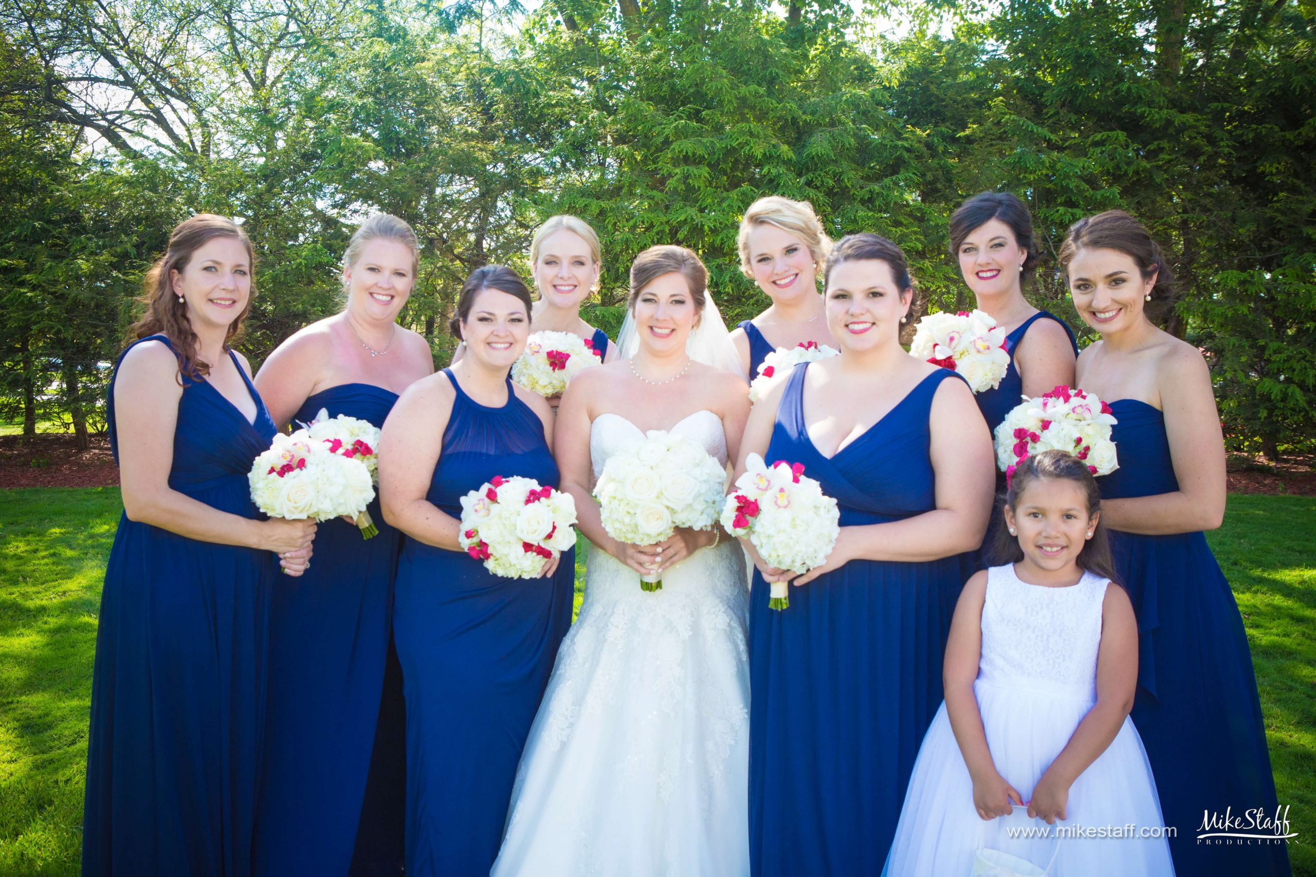 red white and blue bridal party dresses