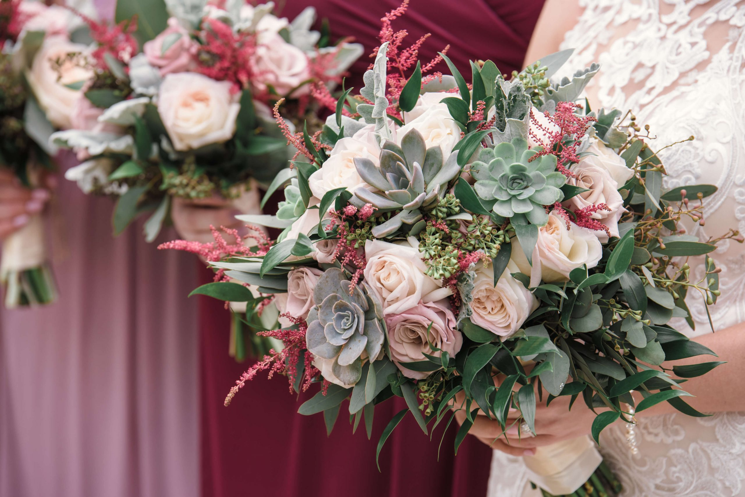 pink and maroon bridal bouquet