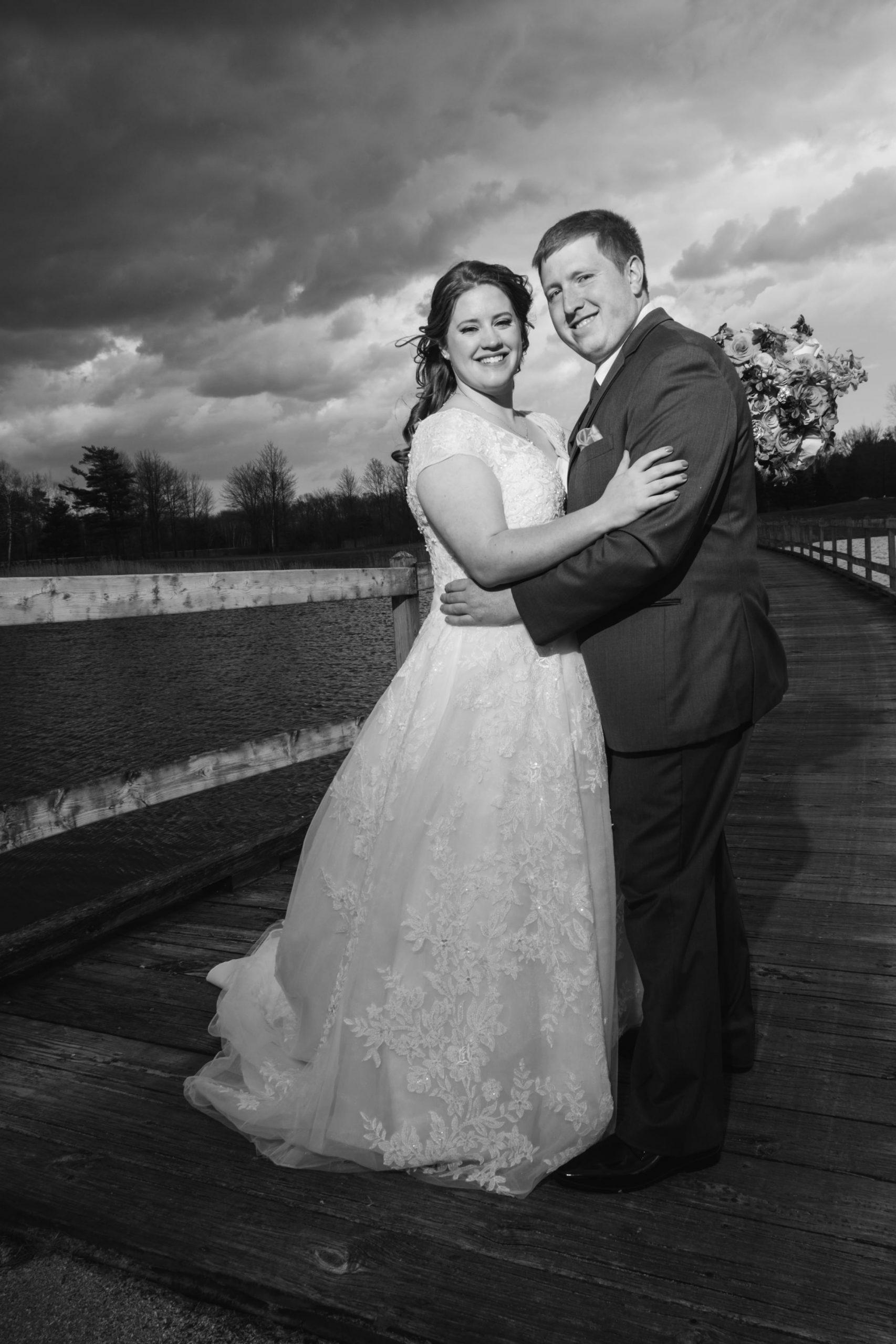 black and white wedding day romantics