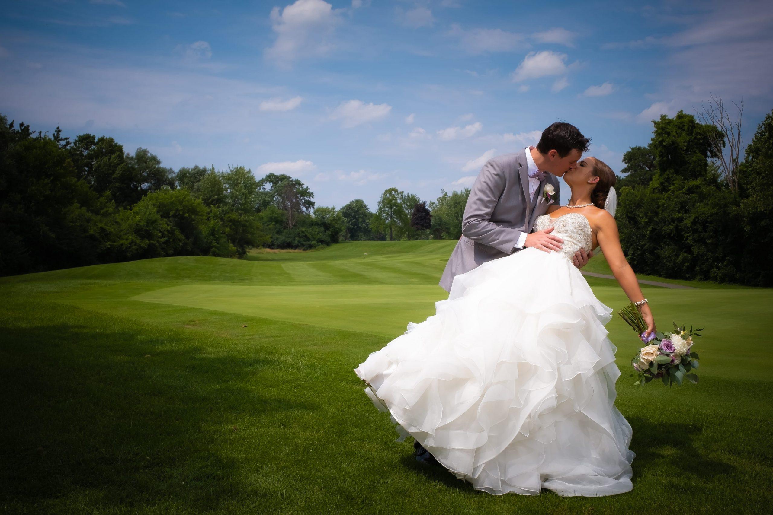 wedding romantics on golf course