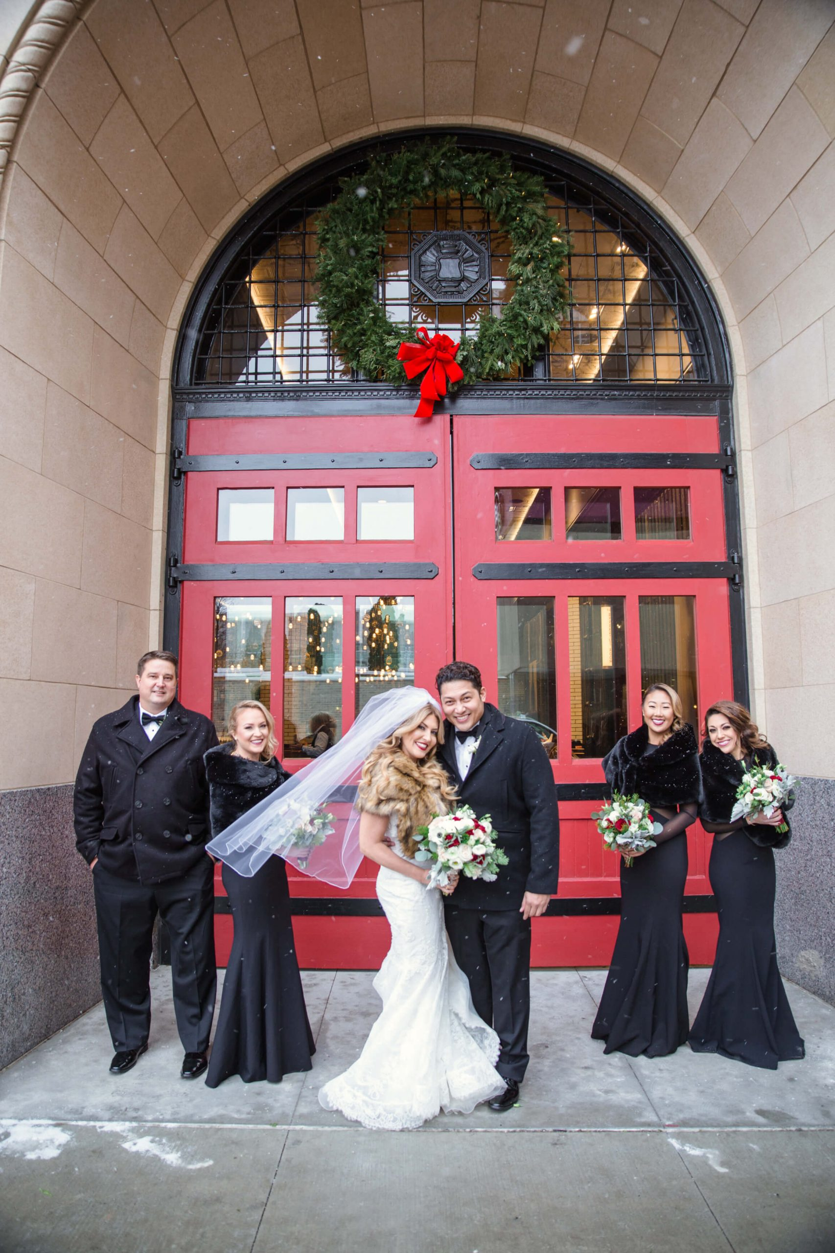 bridal party in detroit during winter