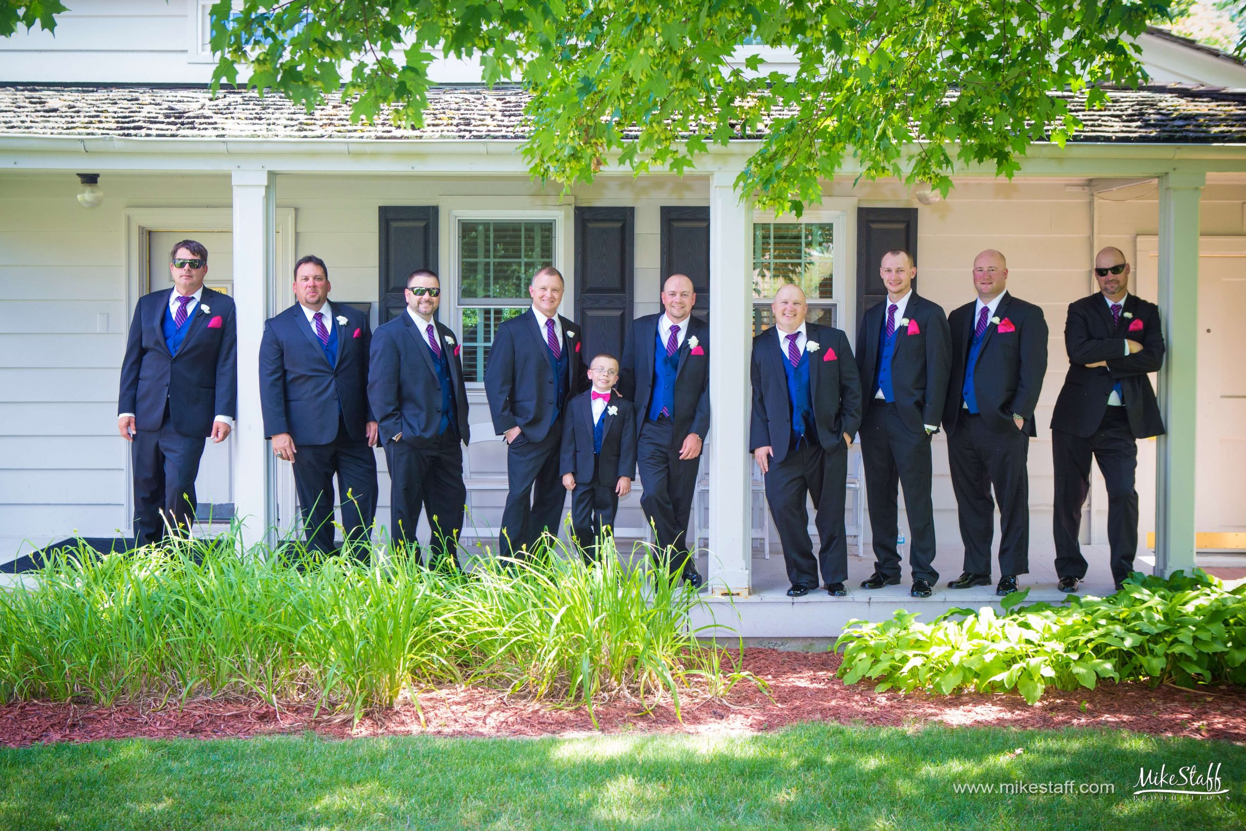 red white and blue groomsmen