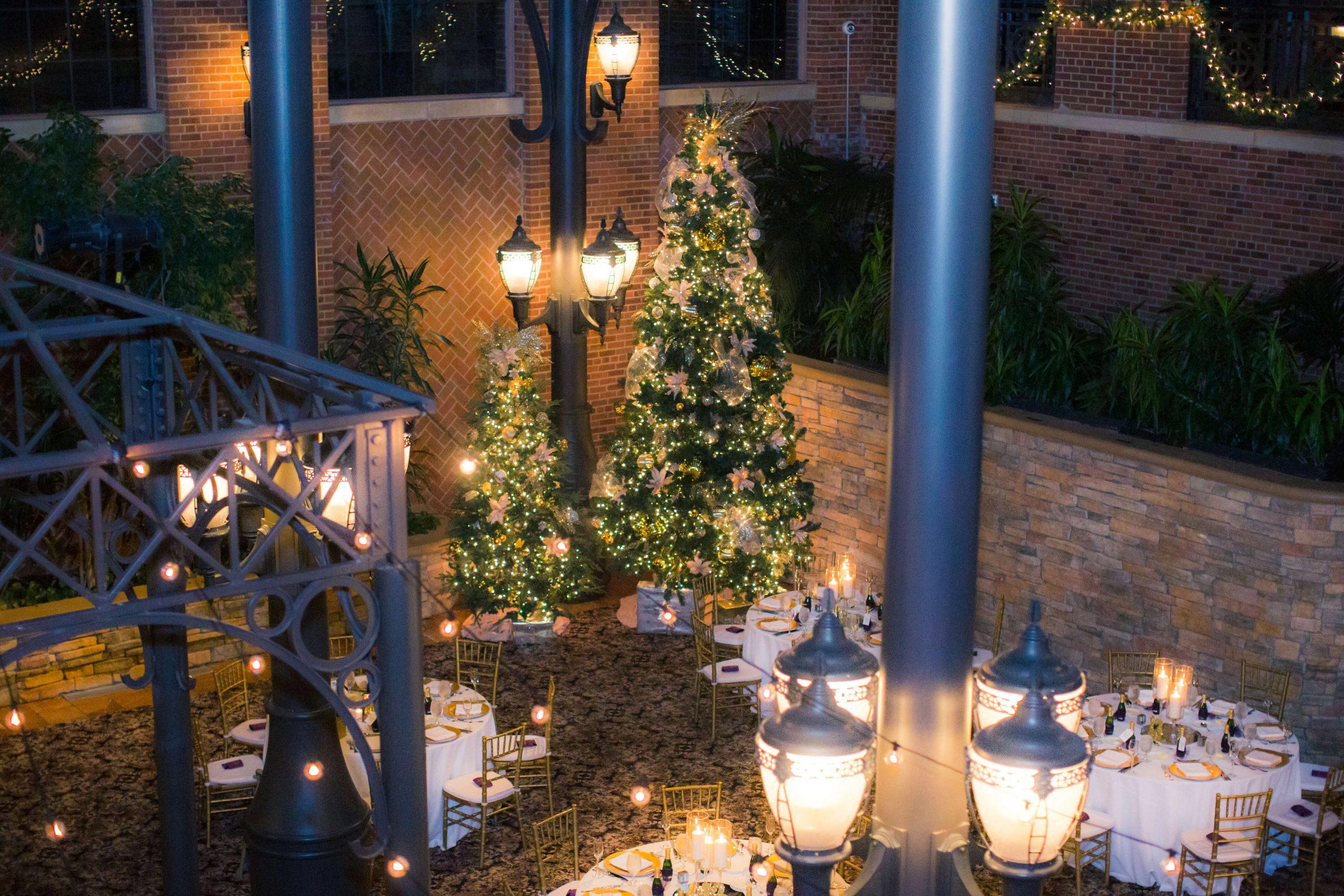 Christmas tree in atrium at inn at st johns