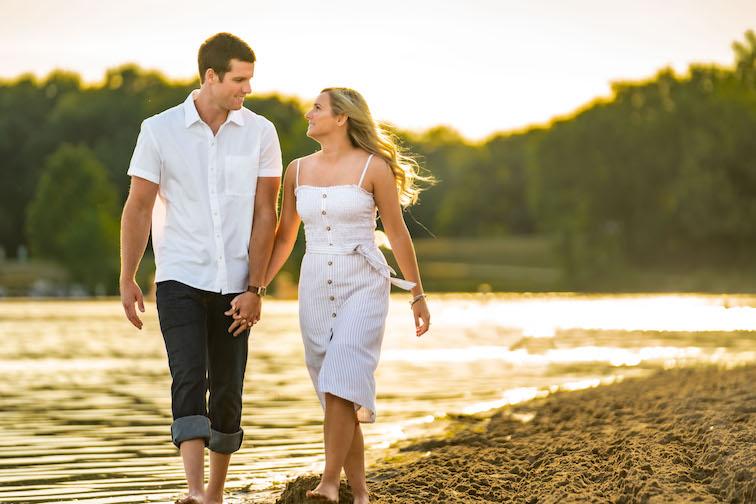 engagement photos on michigan beach