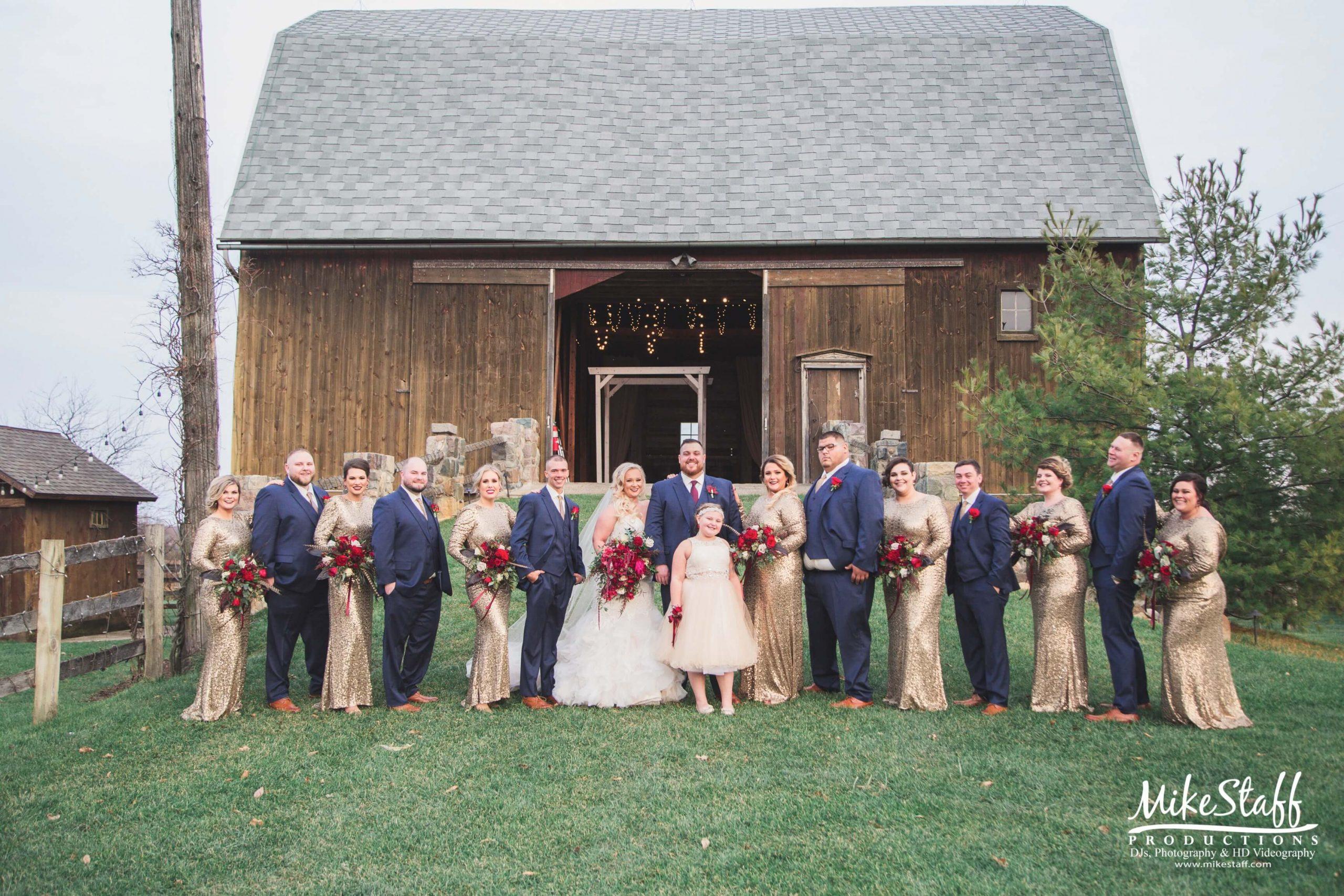 bridal party outside barn wedding venue