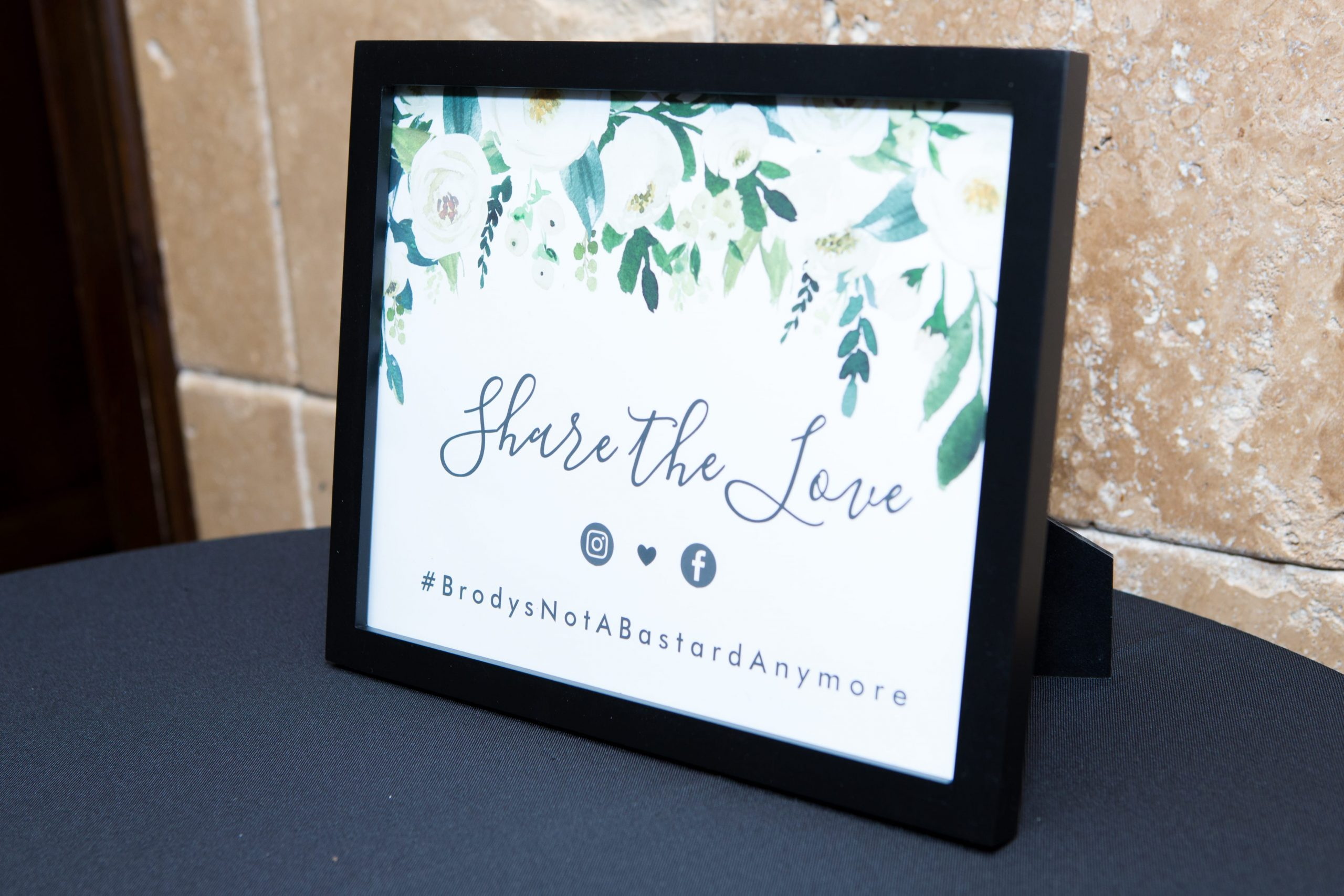 Share The Love printed wedding hashtag sign