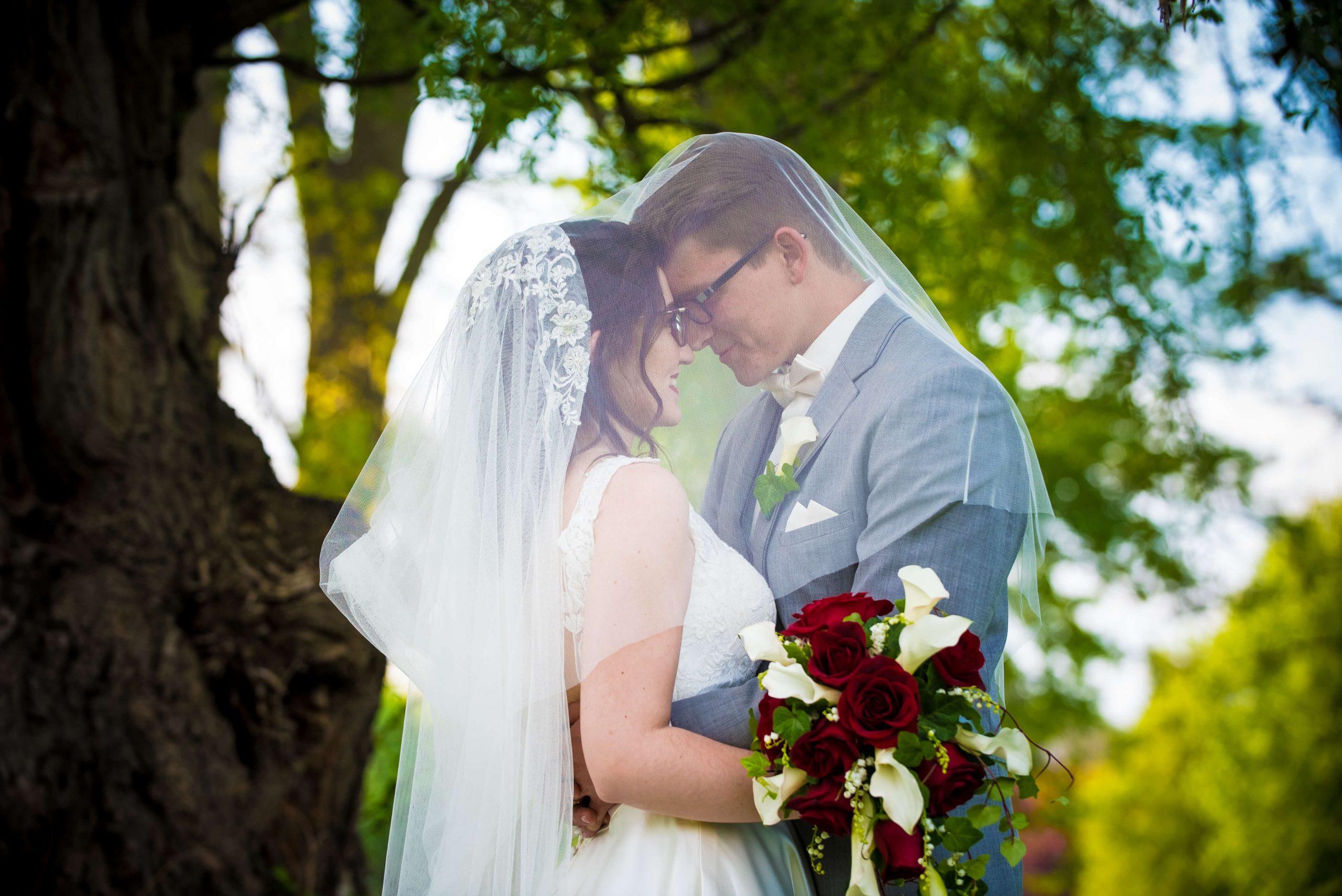 bride and groom under wedding veil