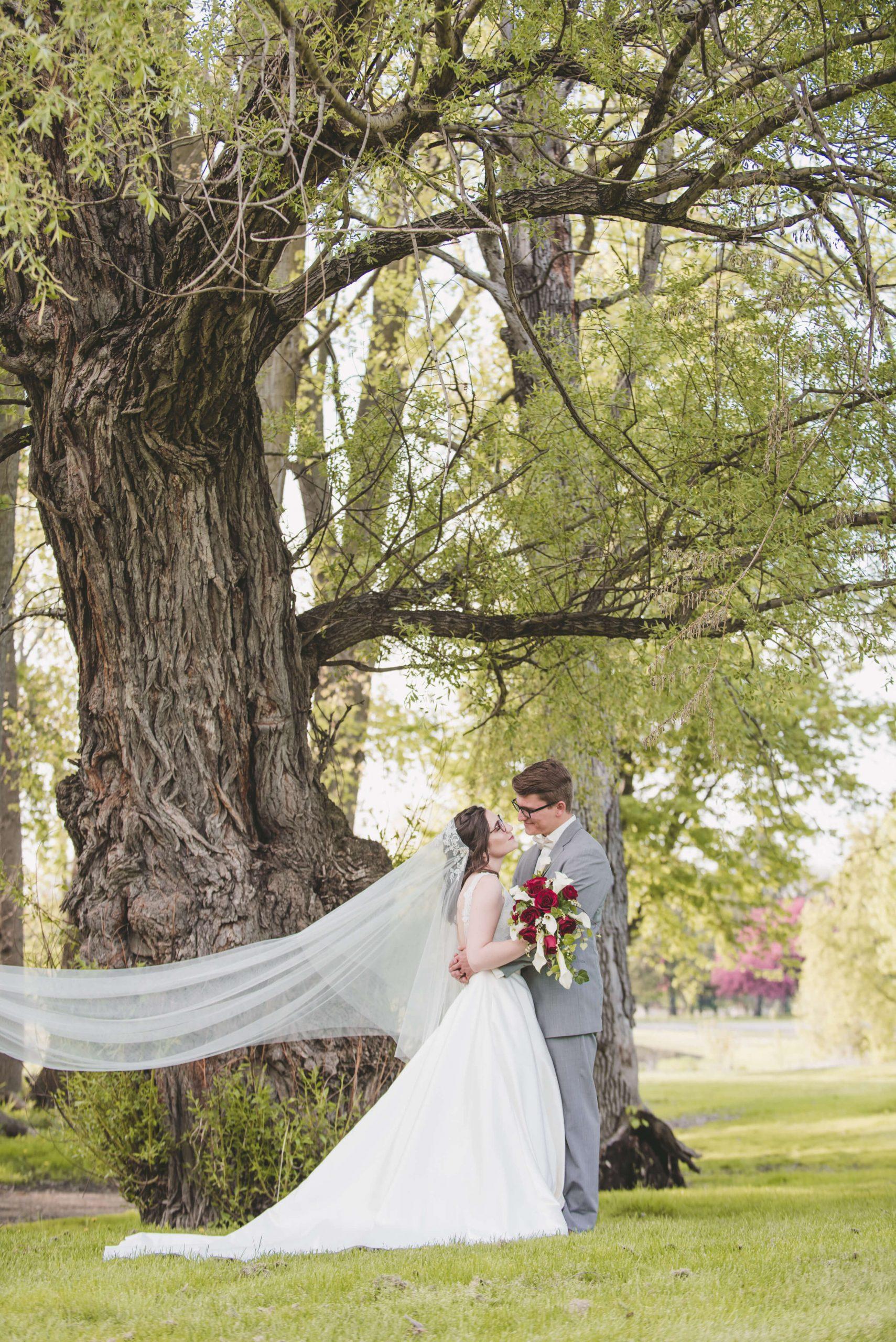bride and groom wedding veil flowing