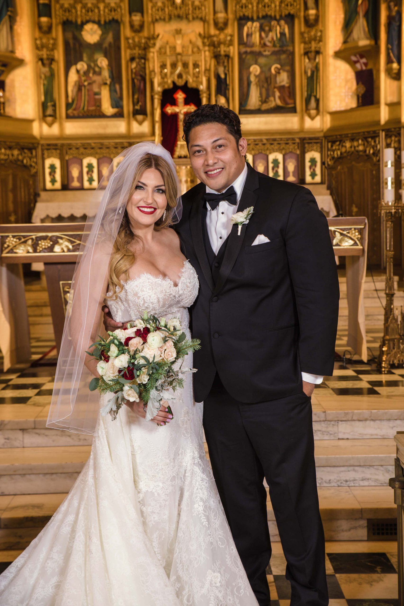 bride and groom portrait in Church