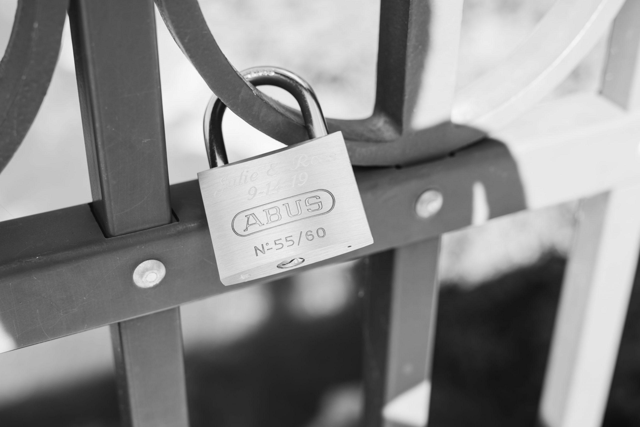 wedding lock on a fence