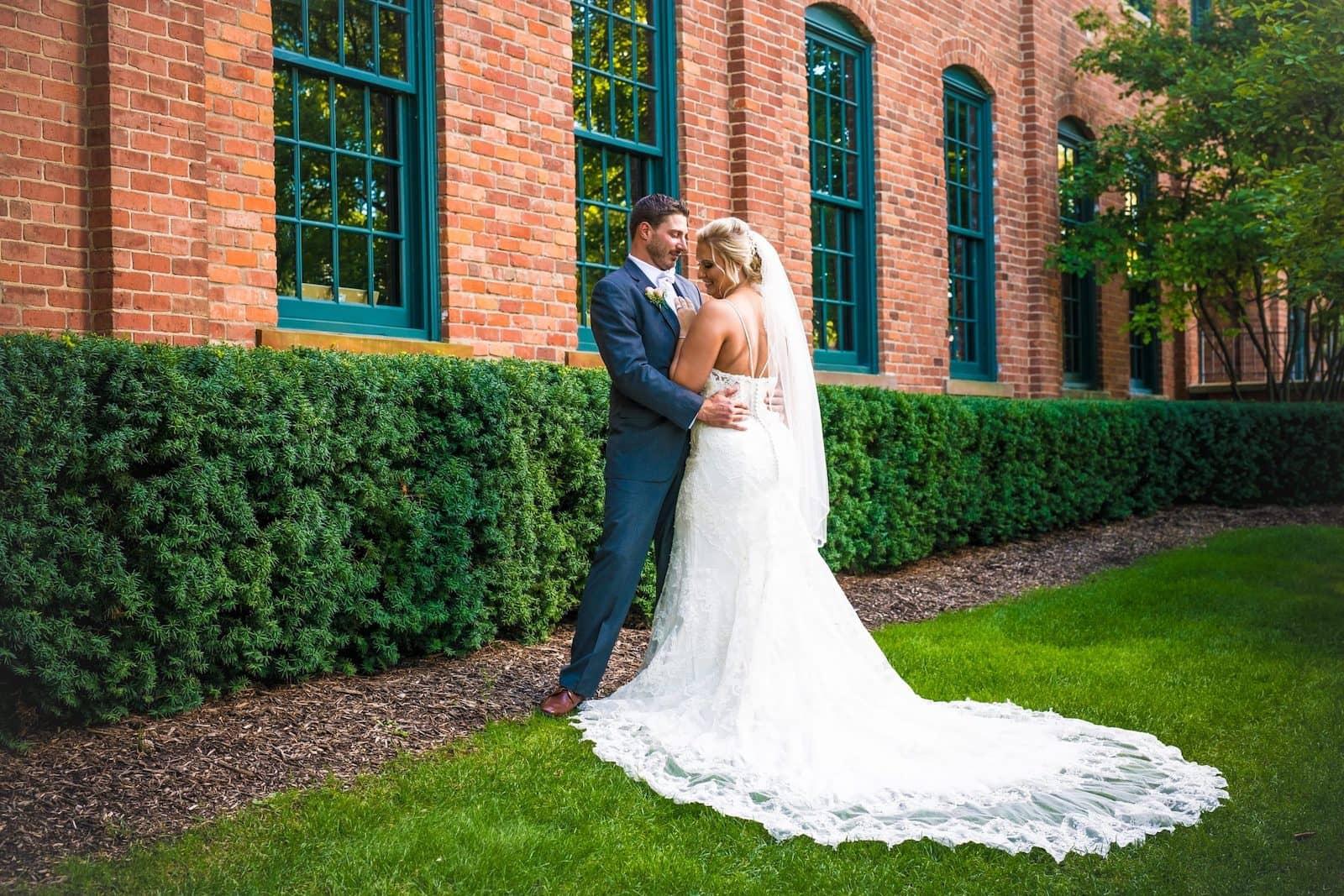 bride and groom romantics on wedding day