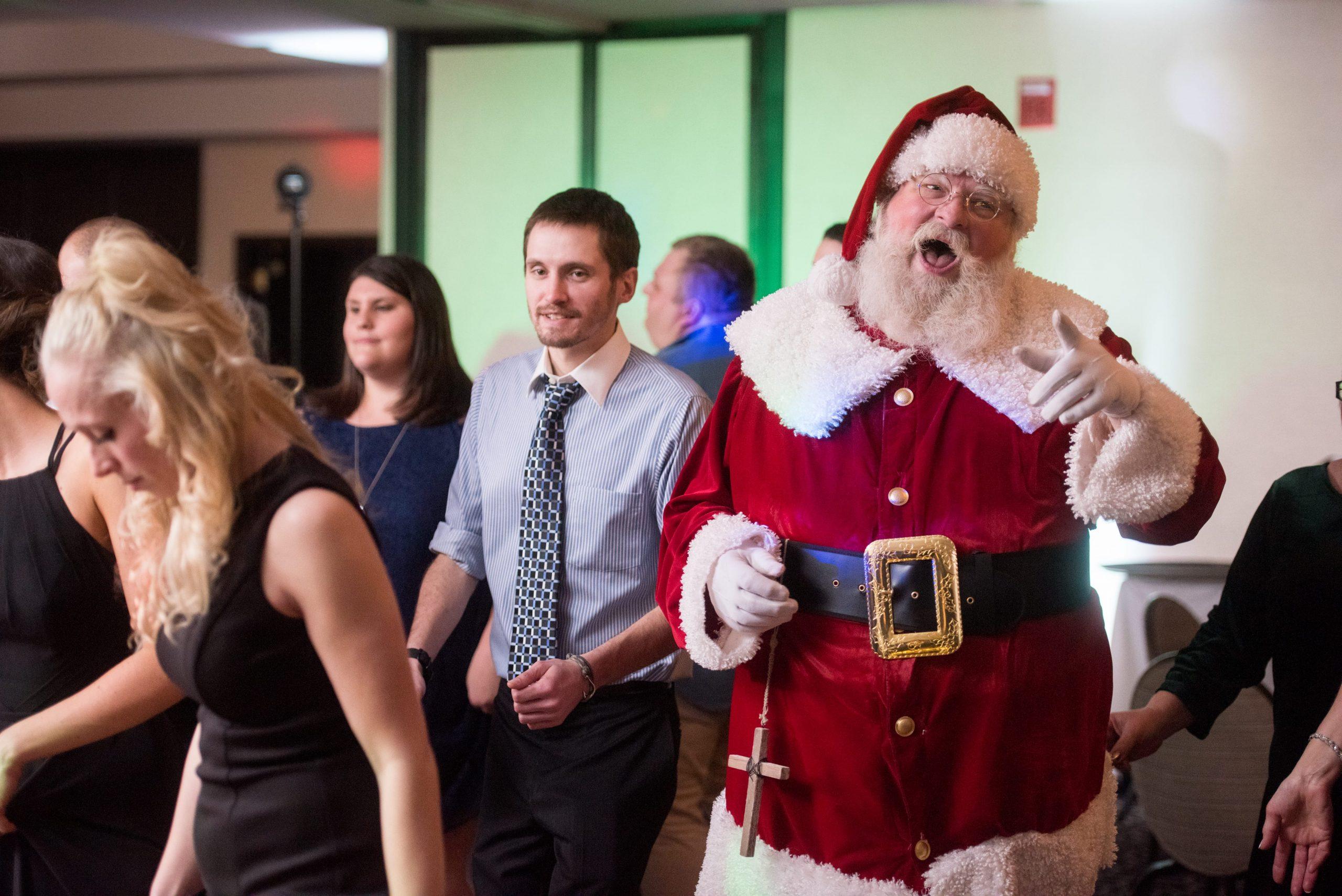 Santa Clause dancing wedding reception