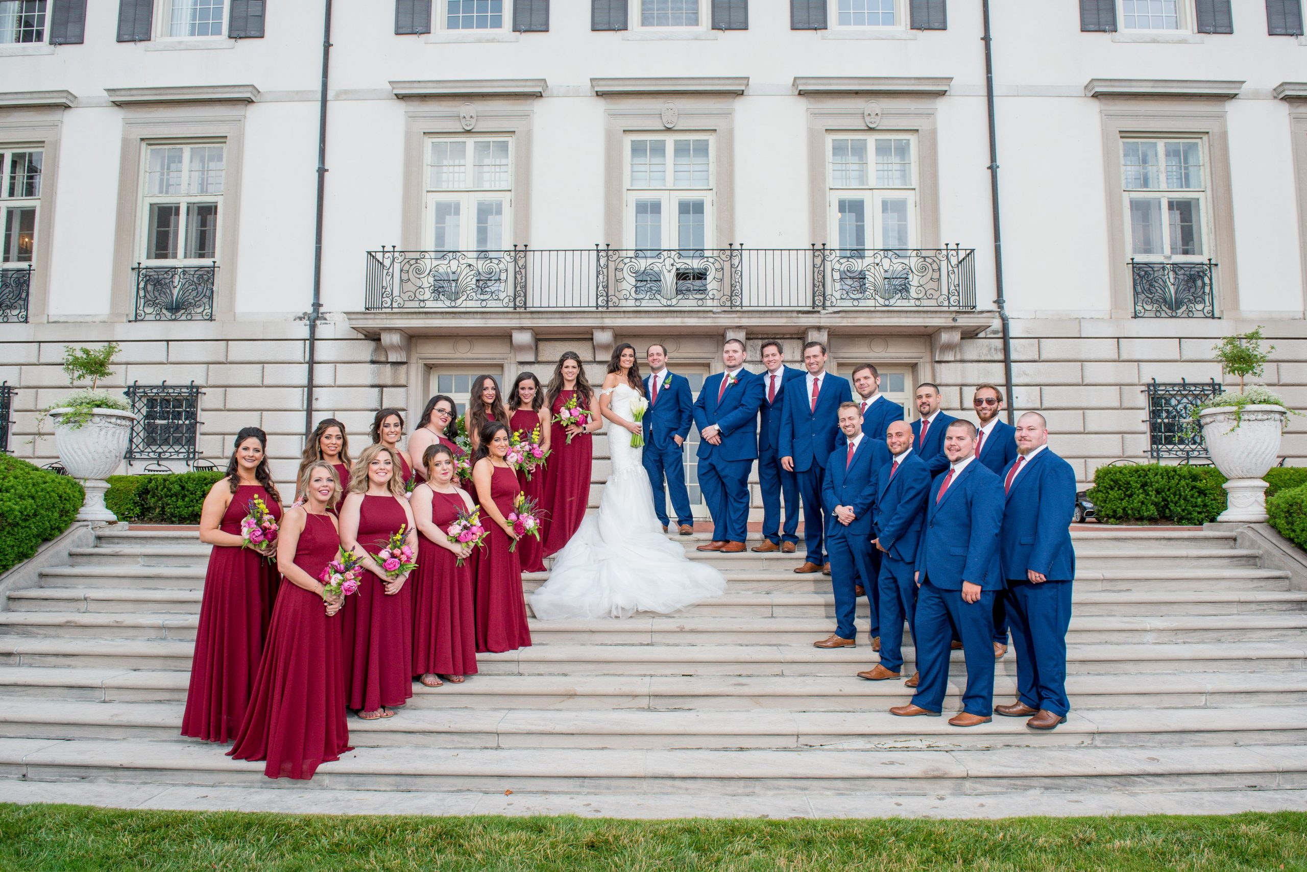 red white and blue wedding party