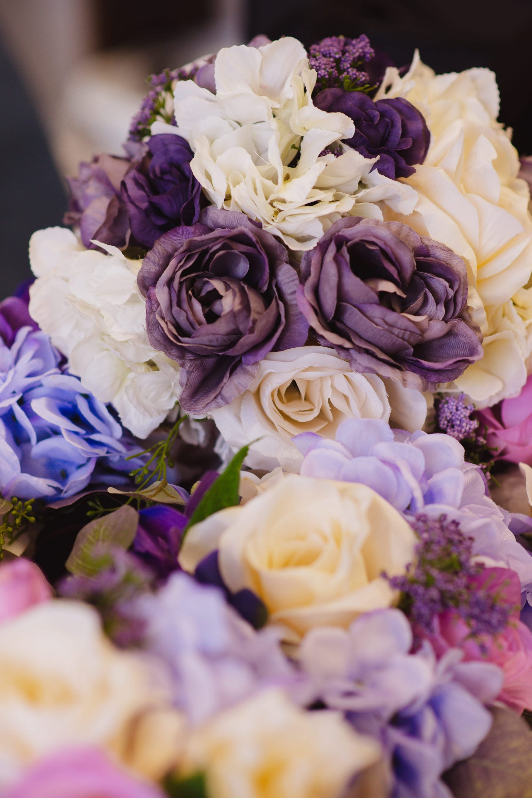 white & purple bridal bouquets