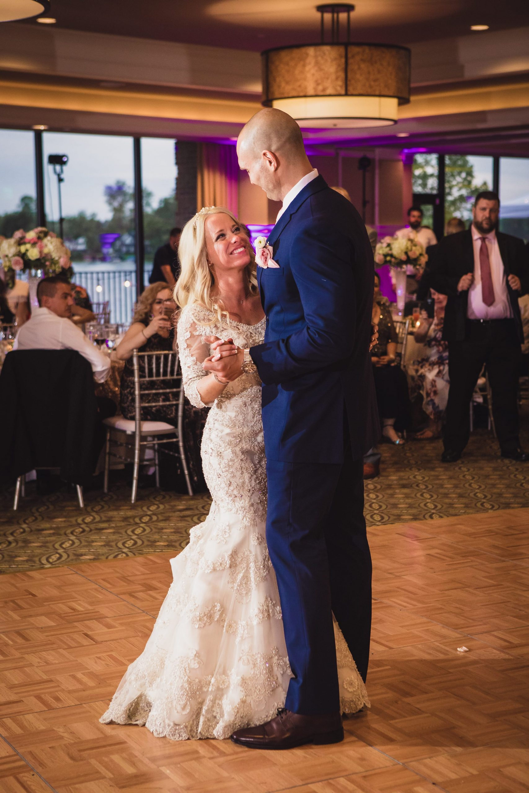 bride looking at groom during first dance