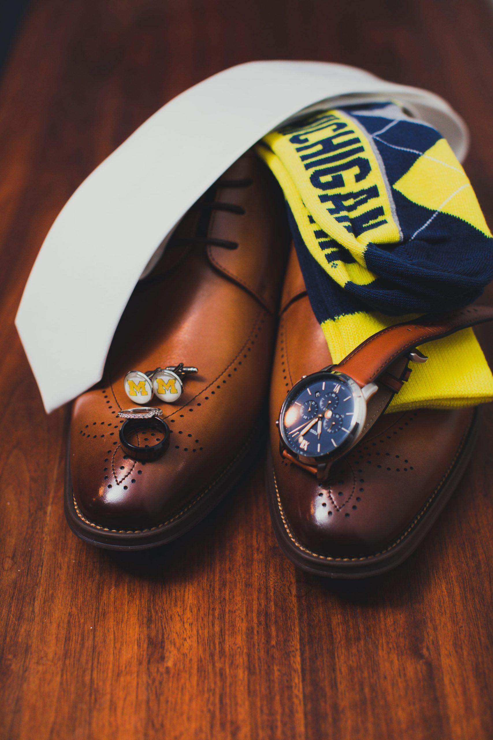 Michigan socks for groom wedding day