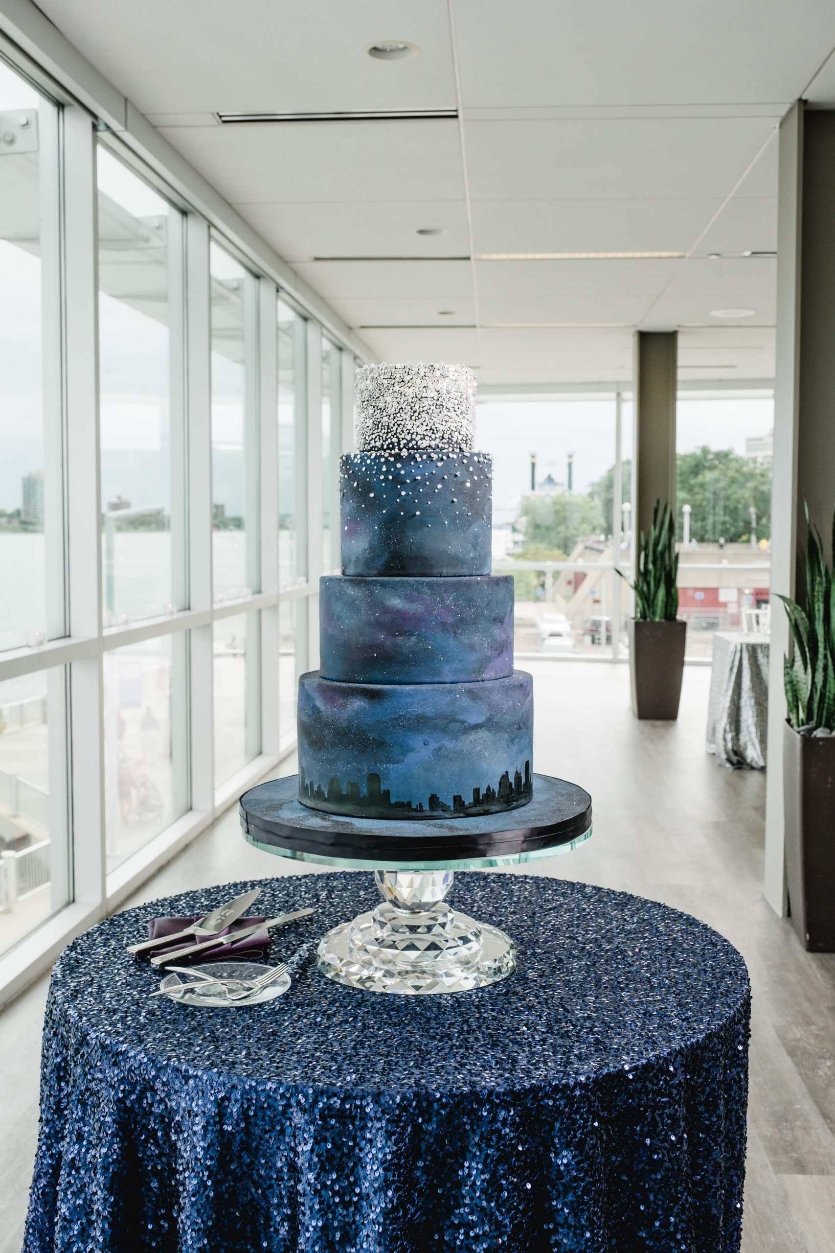 blue starry galaxy wedding cake