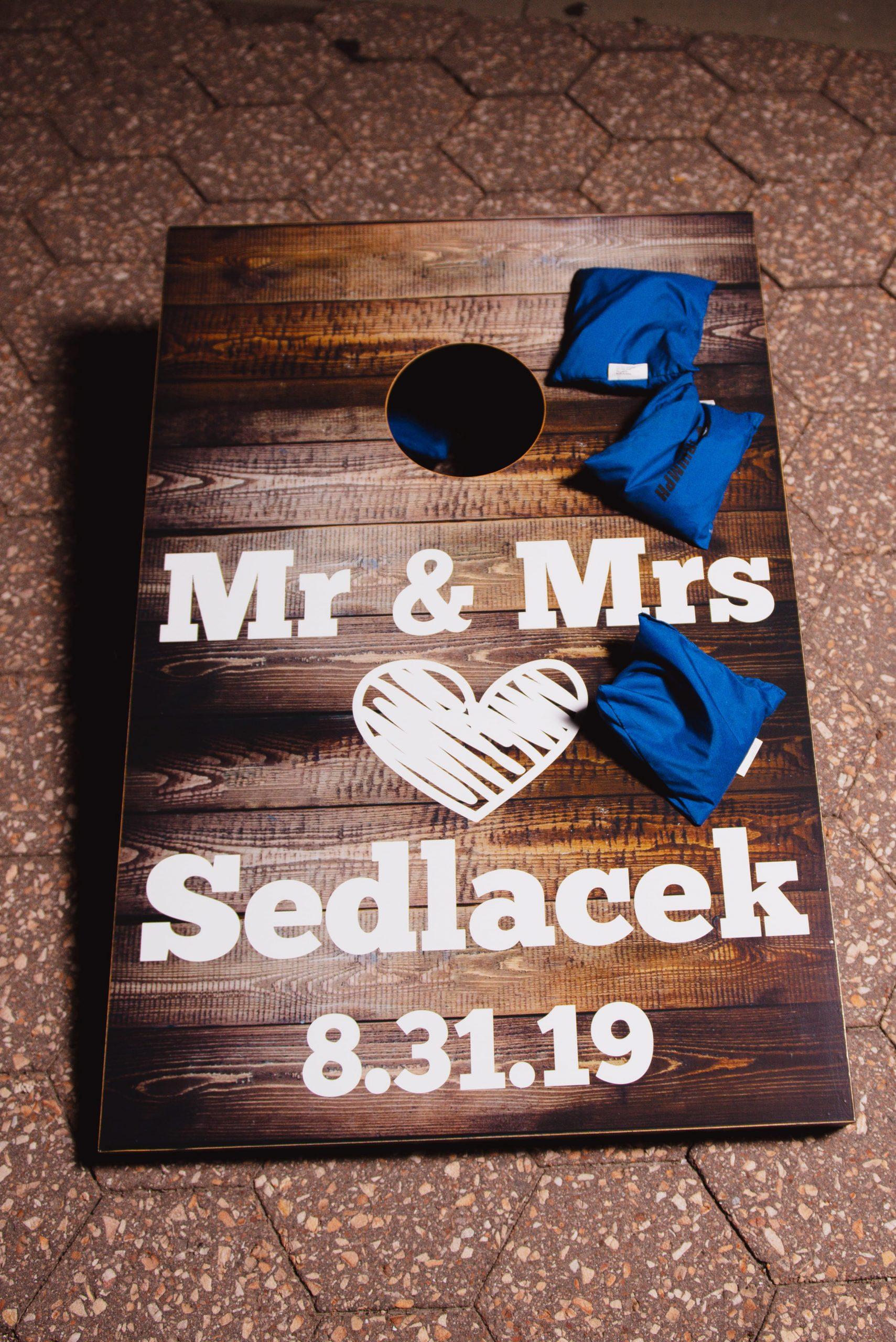 custom mr and mrs cornhole board