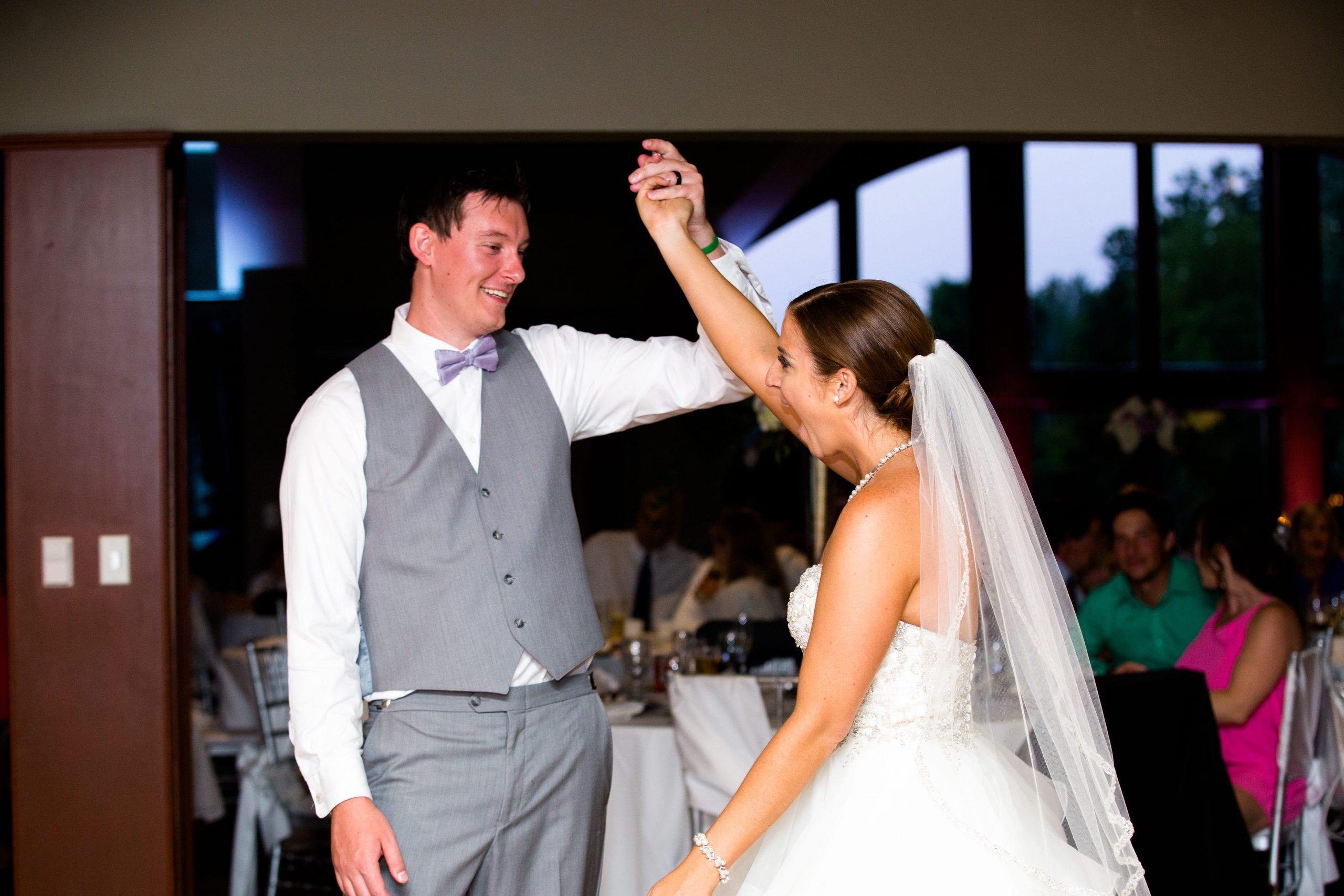 bride and groom excited during first dance