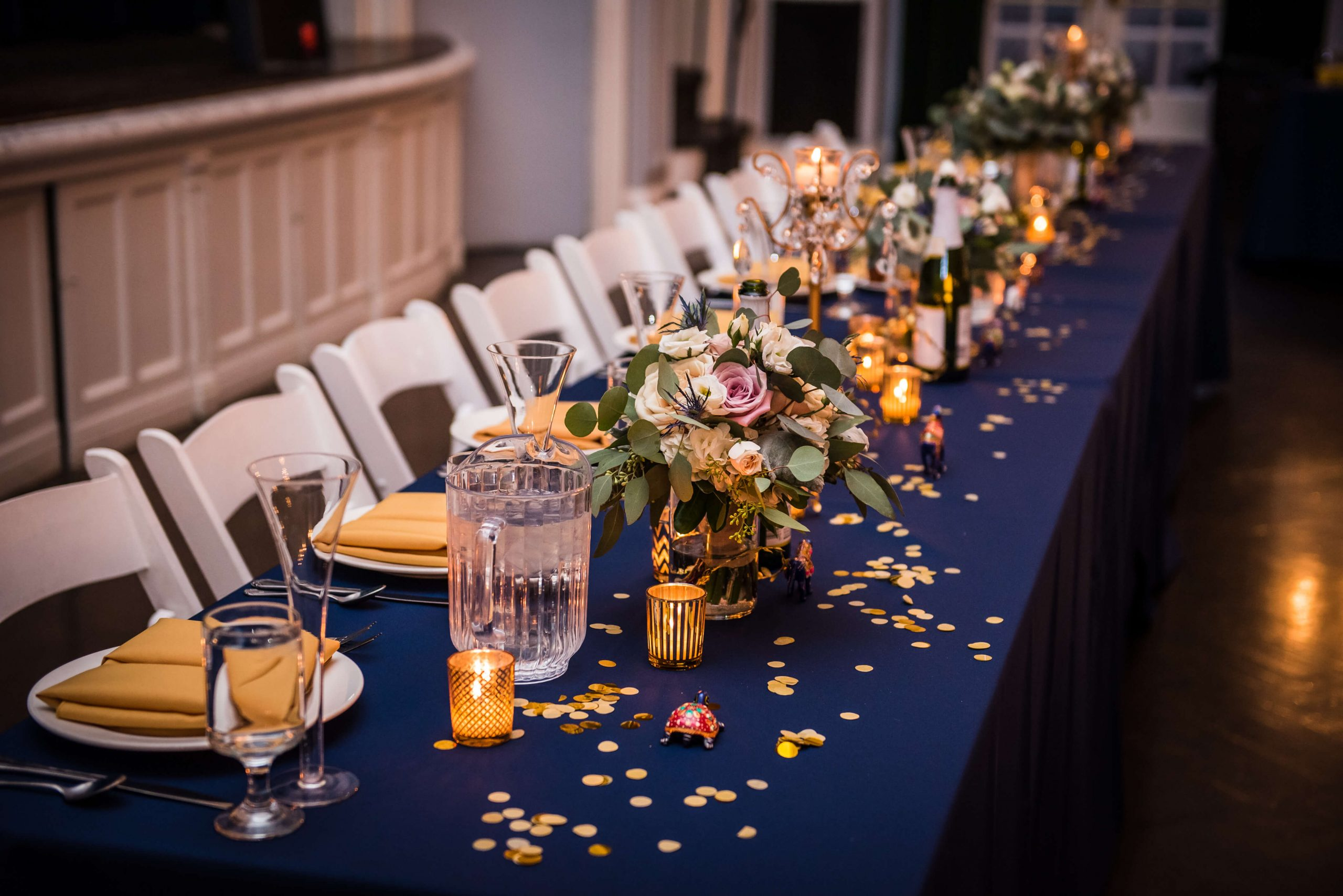 Wedding Decisions navy and gold head table details