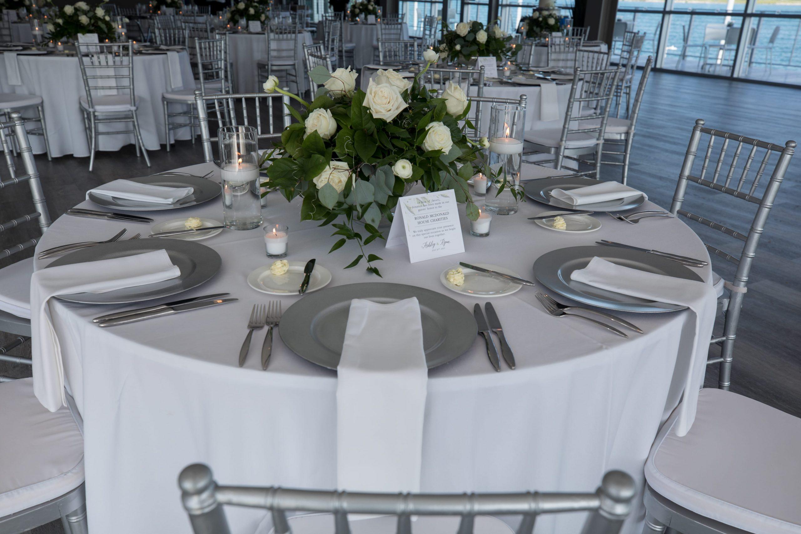 silver wedding details at waterview loft