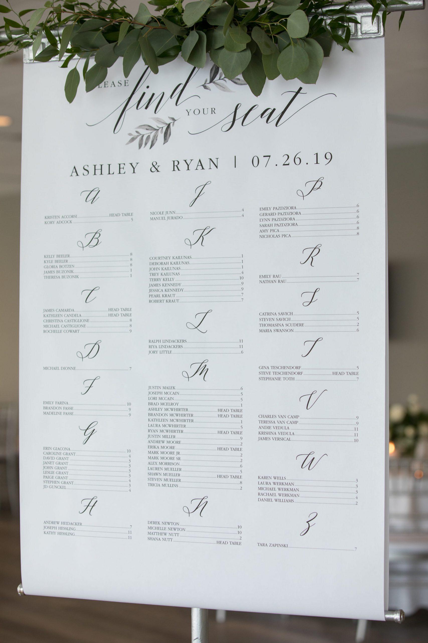 printed seating arrangements sign