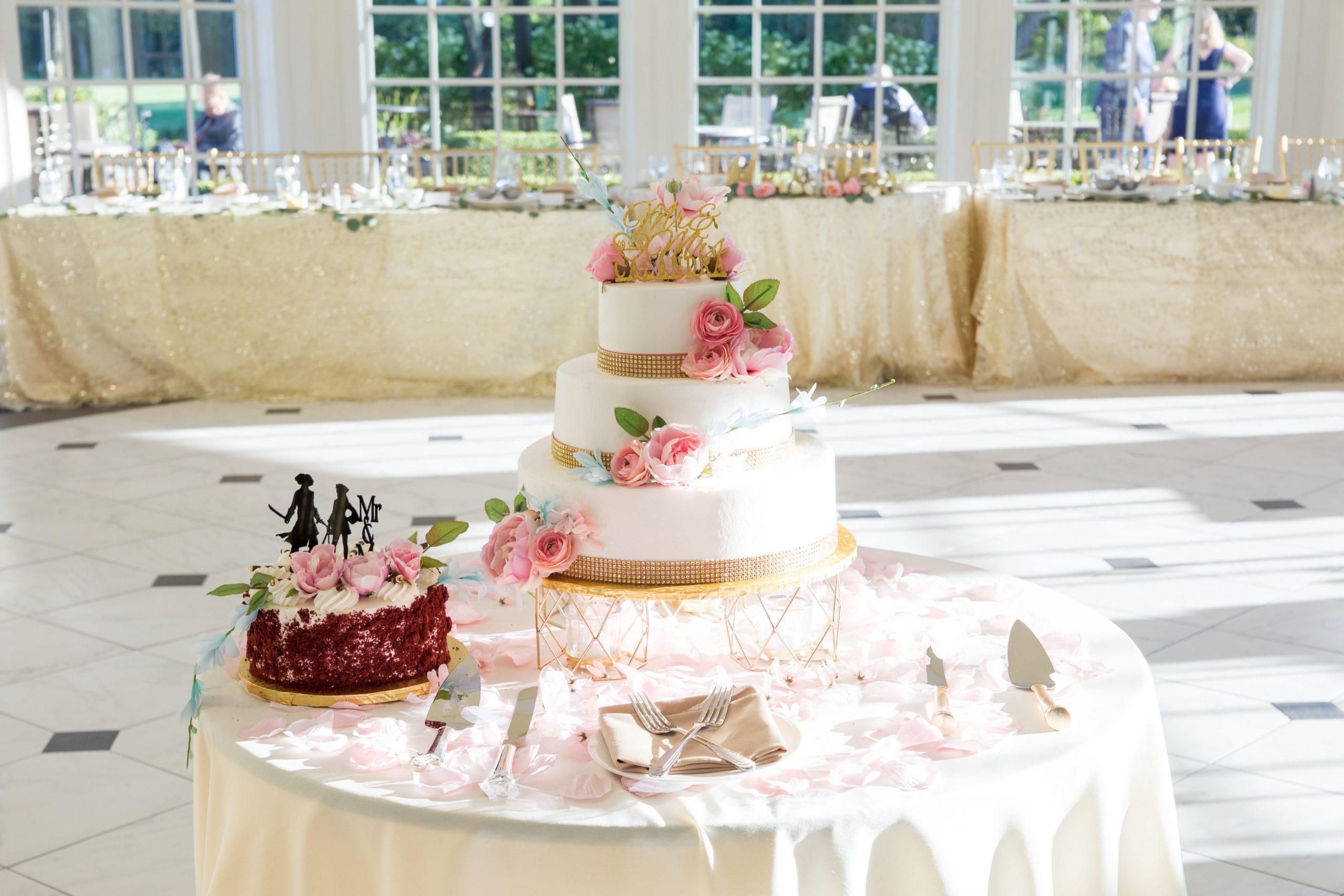 wedding cake table on dance floor at Cherry Creek