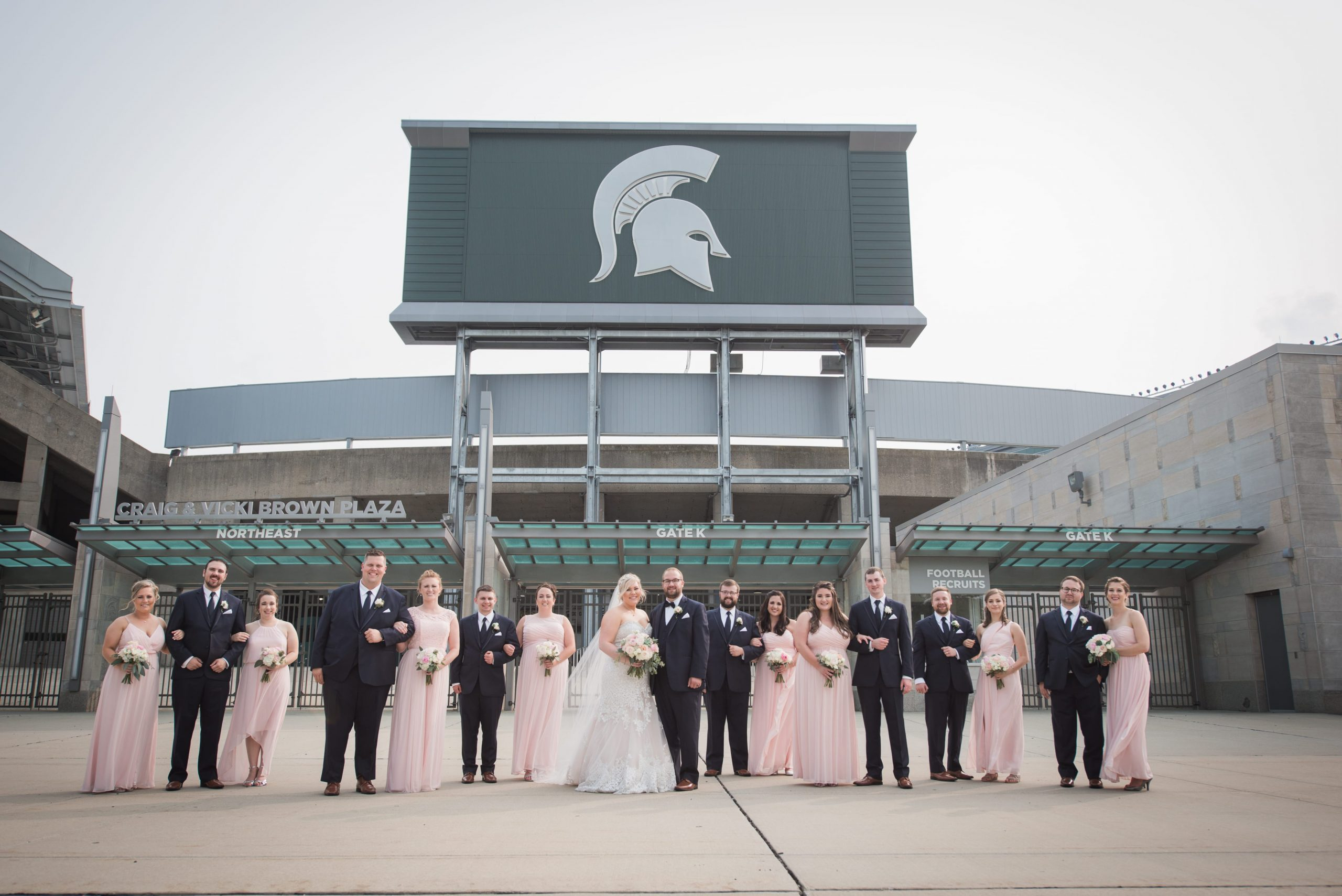 bridal party outside Michigan State