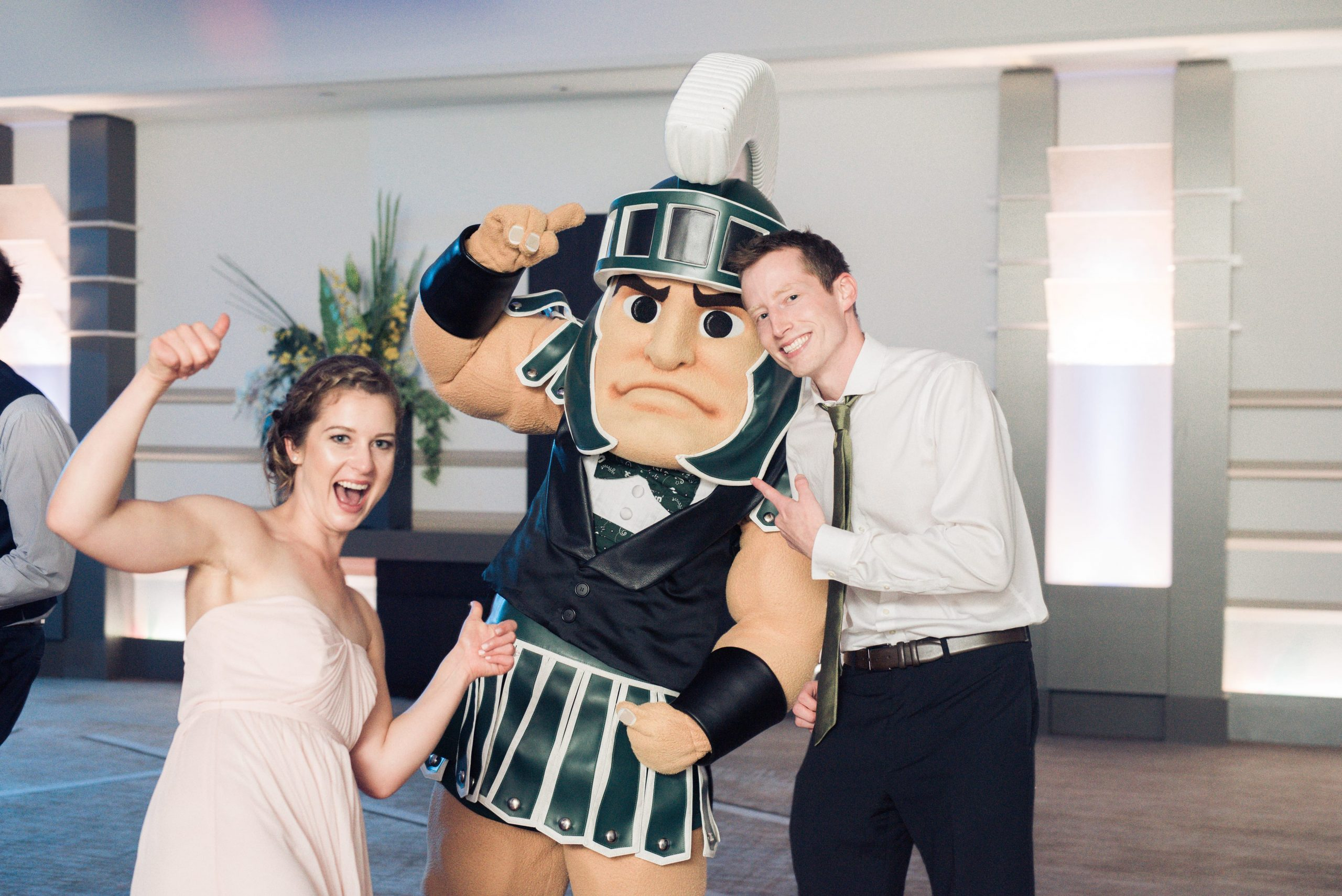 sparty with bride and groom