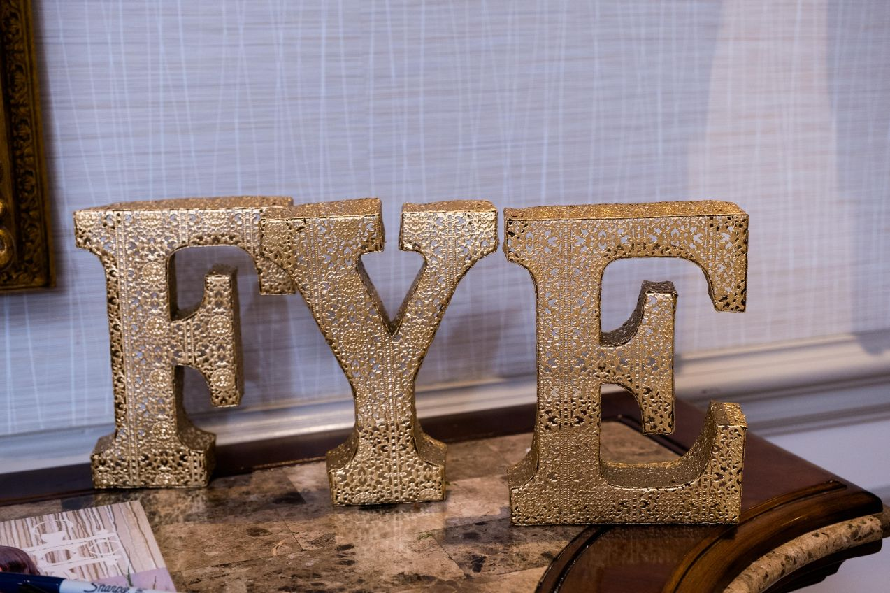 FYE gold wedding details