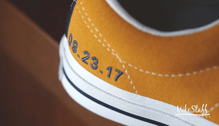 embroidered wedding date on shoes