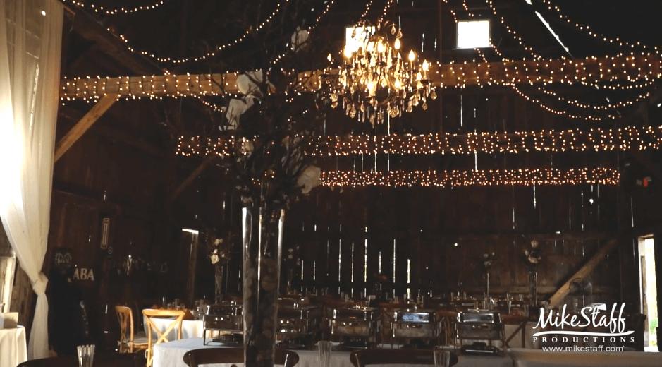 receptions lights in barn