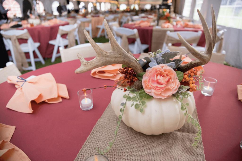 pumpkin and antlers wedding centerpiece