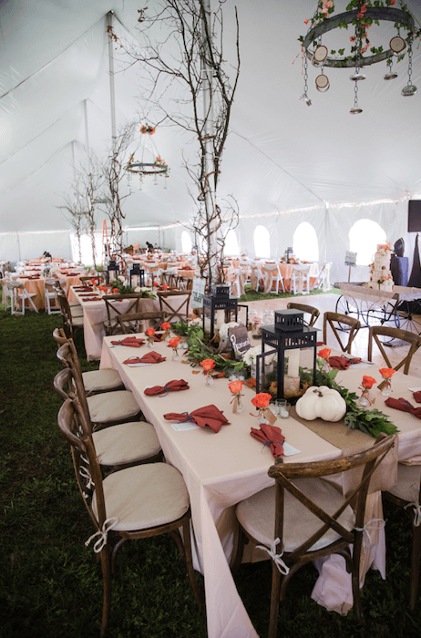 Hunting Themed Wedding in tent